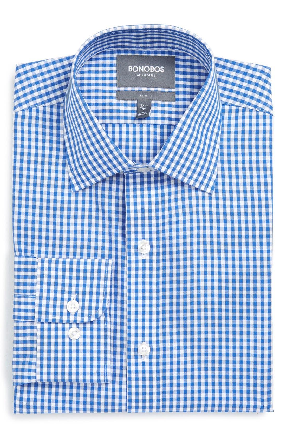 Slim Fit Wrinkle Free Check Dress Shirt,                         Main,                         color, BAY BLUE