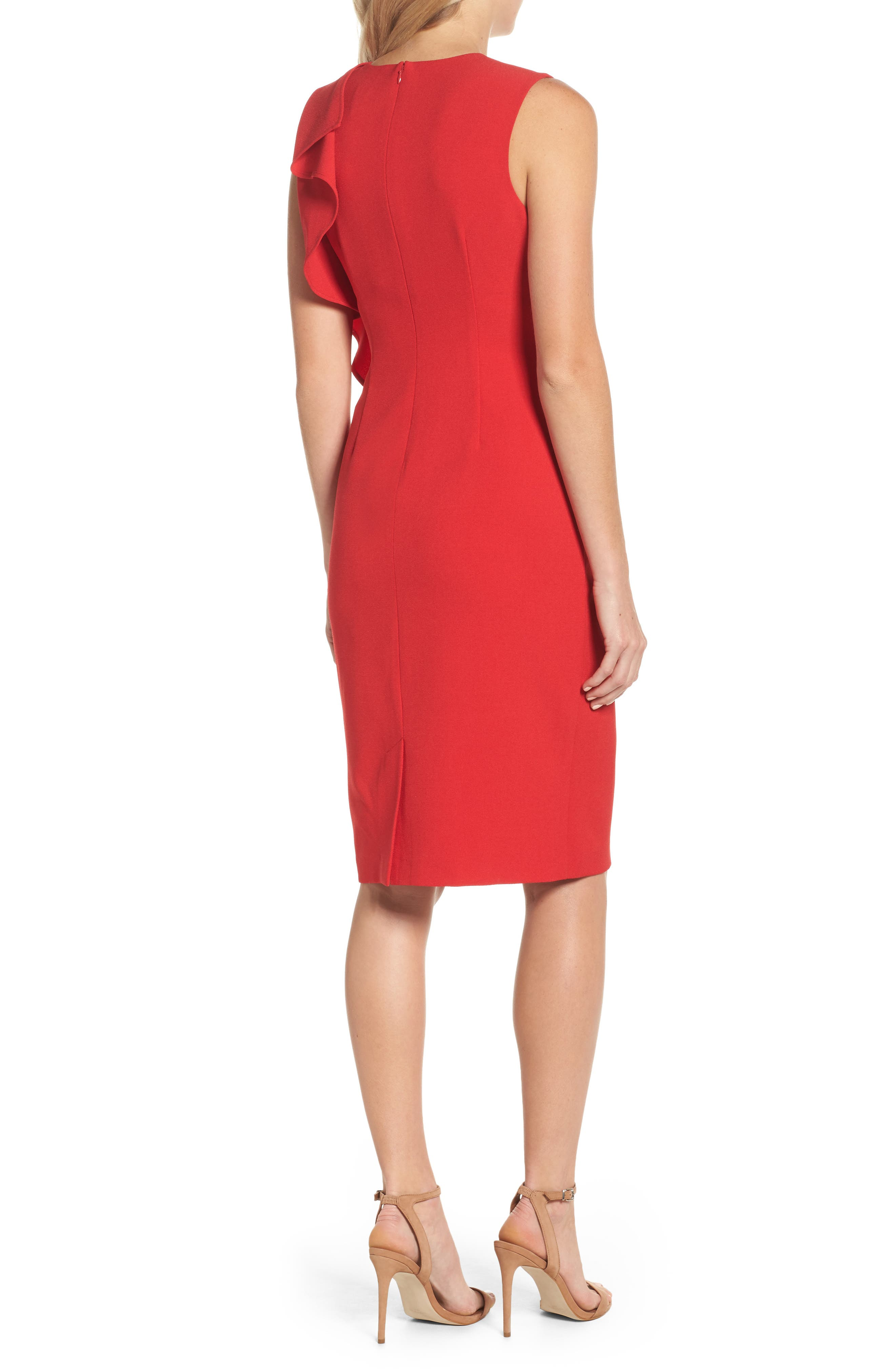 Ruffle Sheath Dress,                             Alternate thumbnail 2, color,                             610