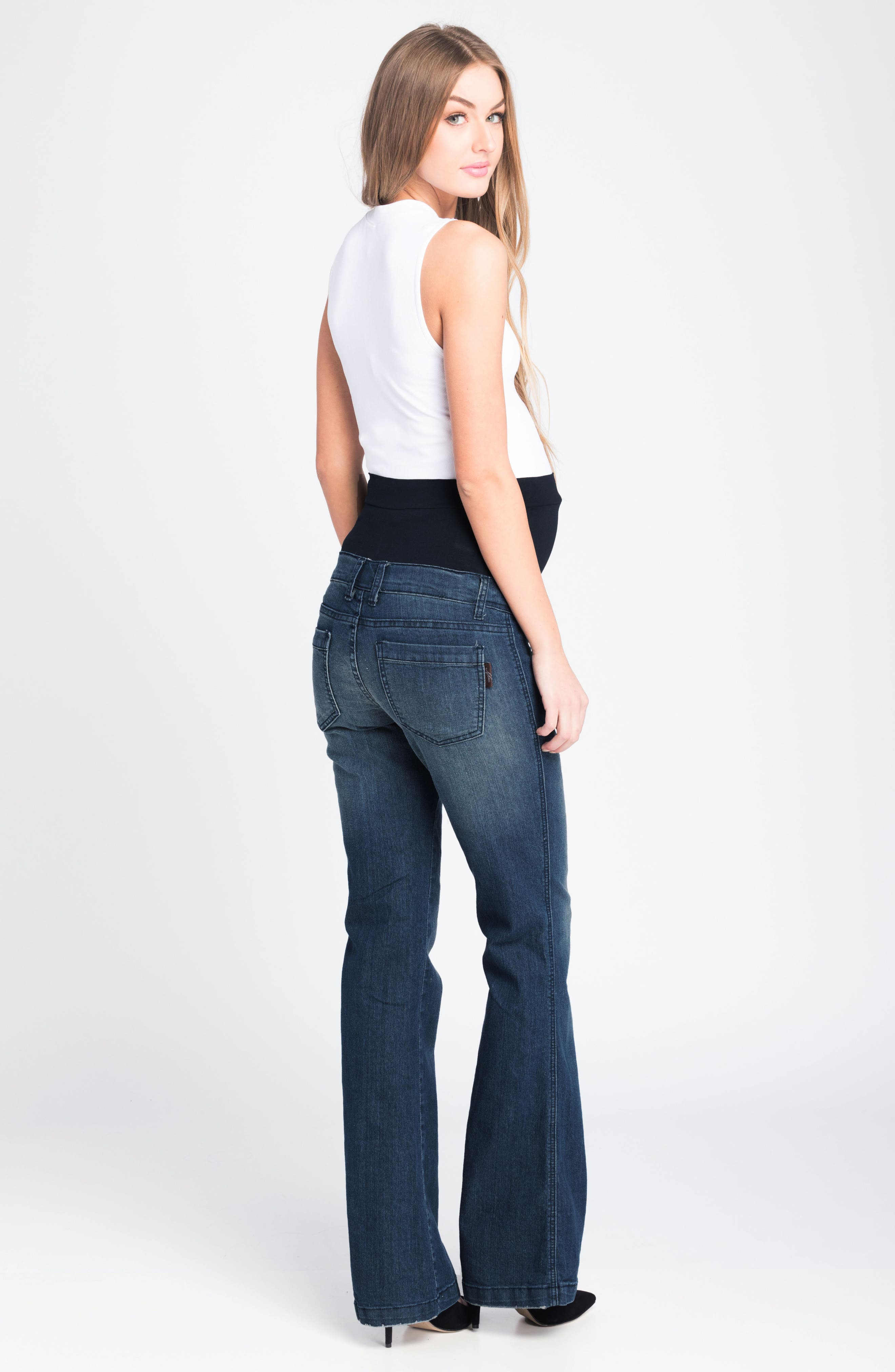 Flare Maternity Stretch Jeans,                             Alternate thumbnail 4, color,                             401