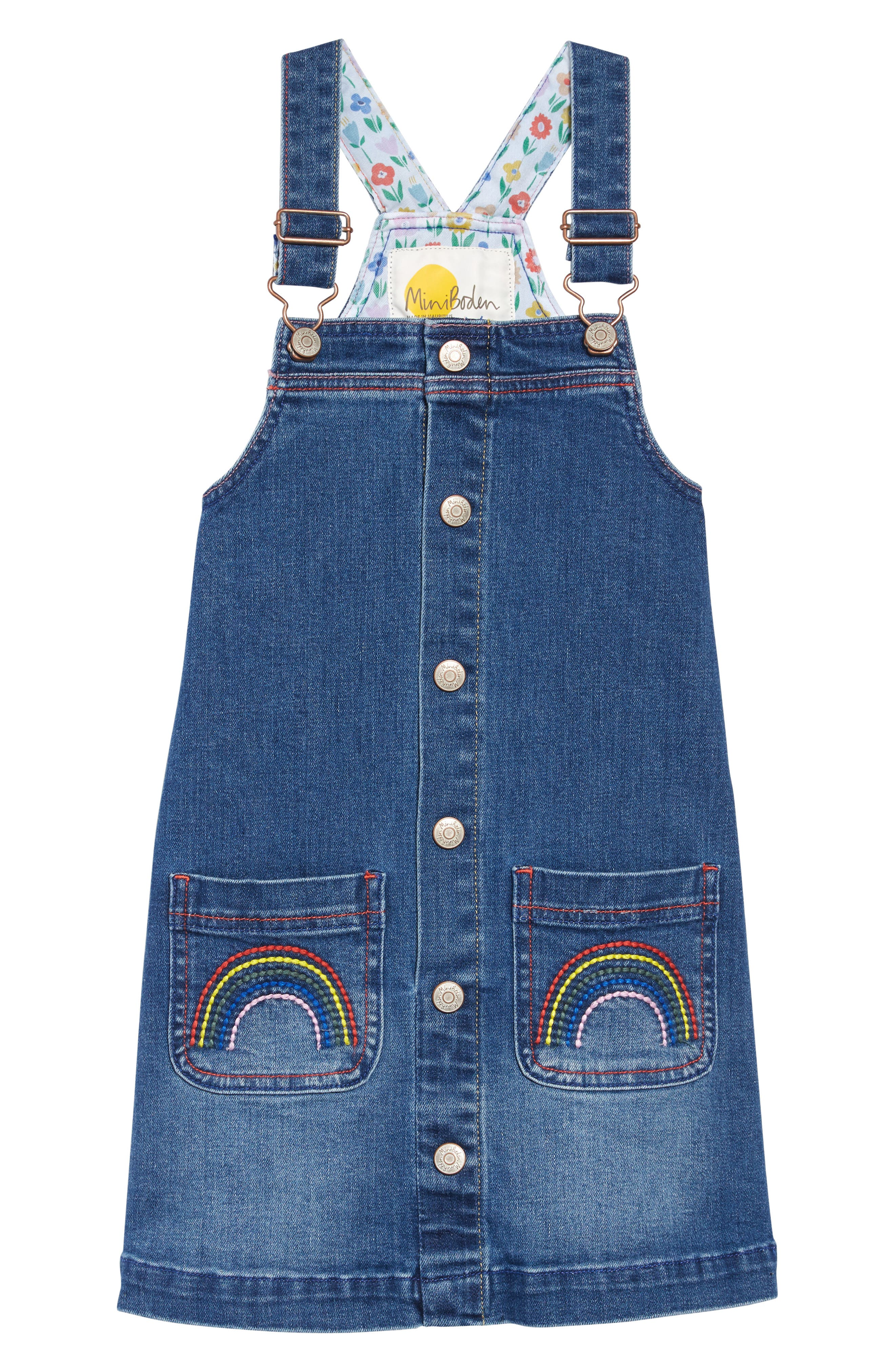 BODEN Mini Boden Denim Dungaree Overall Dress, Main, color, LIGHT VINTAGE BLUE RAINBOWS