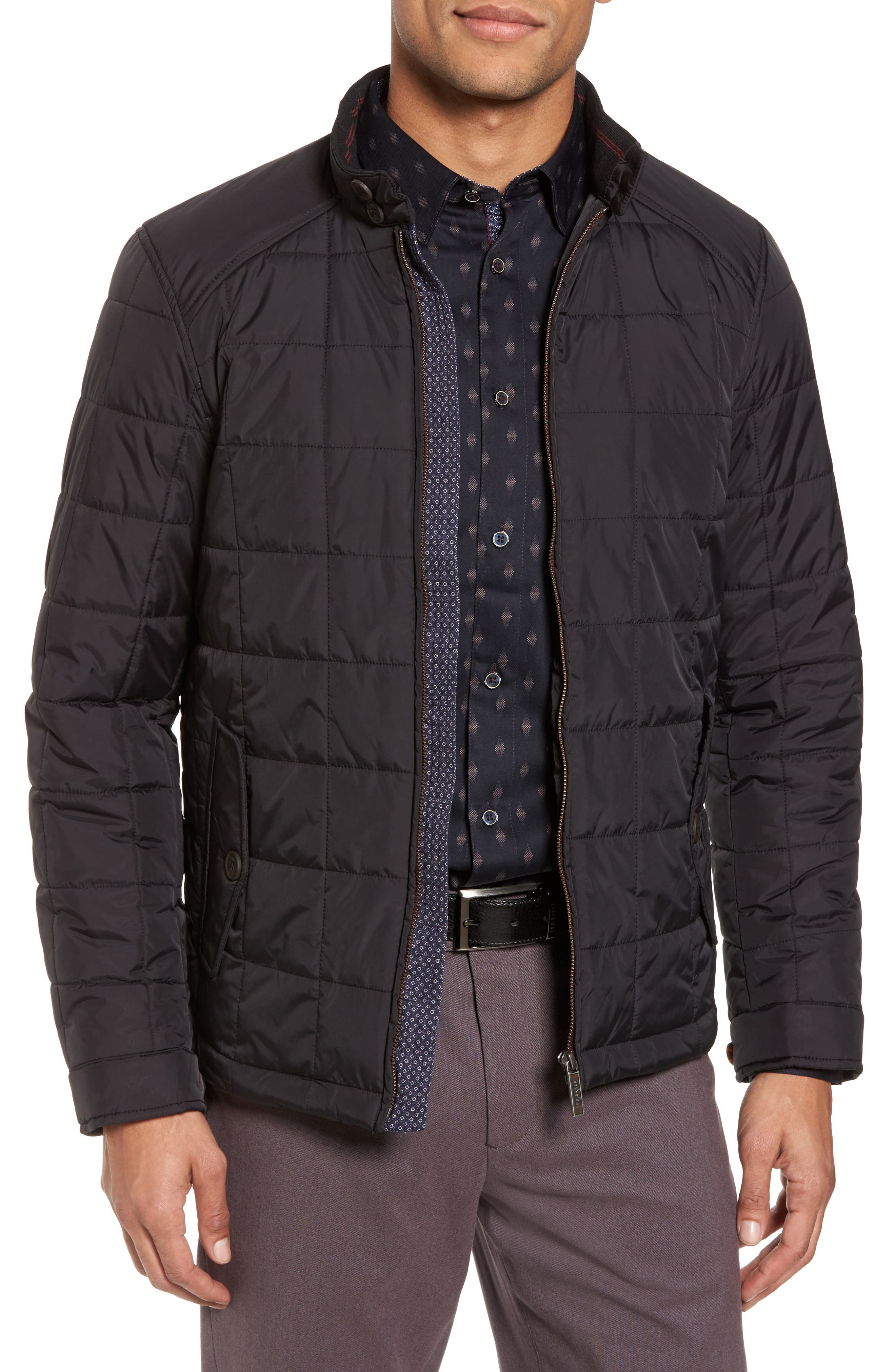Alees Trim Fit Quilted Jacket,                             Main thumbnail 1, color,                             001