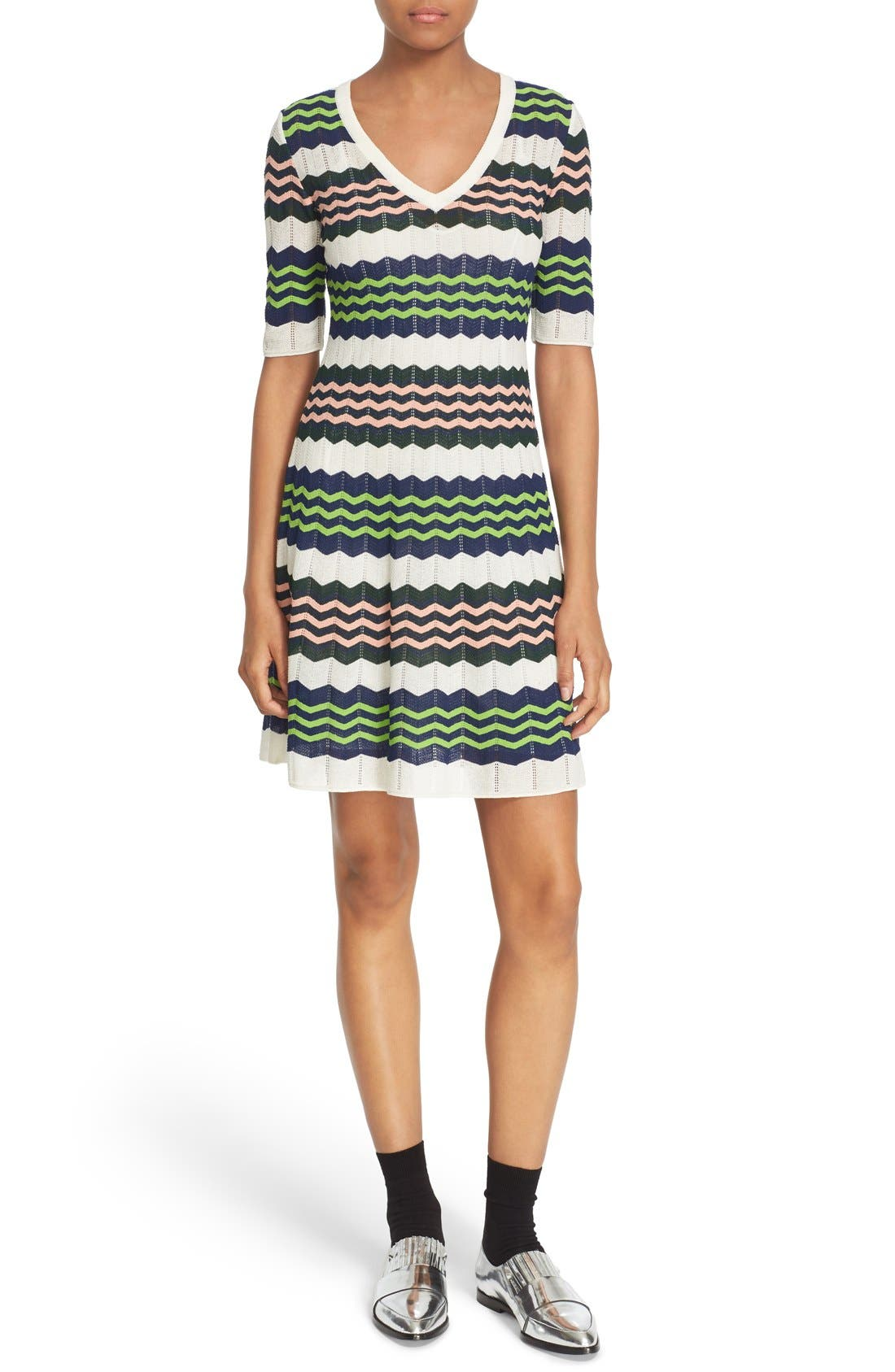 Zigzag Stripe Knit A-Line Dress, Main, color, 900