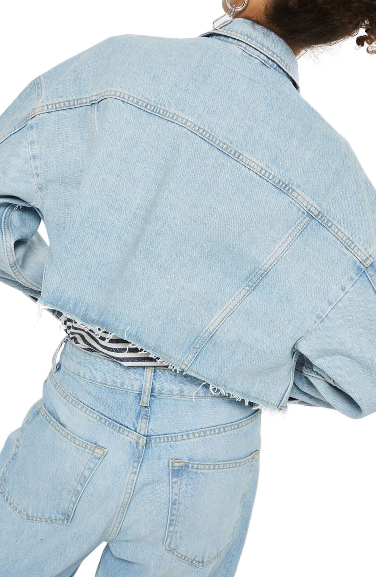 Bleached Cutoff Denim Jacket,                             Alternate thumbnail 2, color,                             420