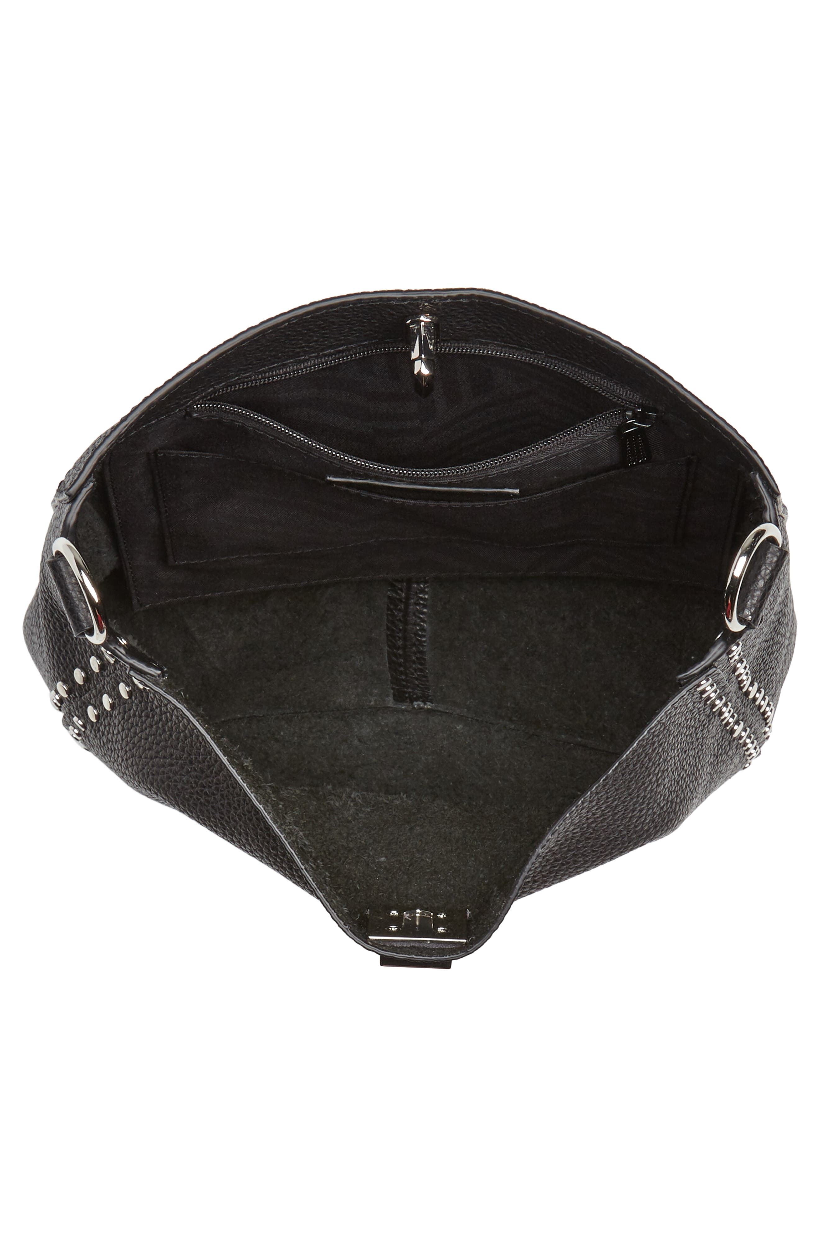 Small Darren Leather Feed Bag,                             Alternate thumbnail 4, color,                             BLACK