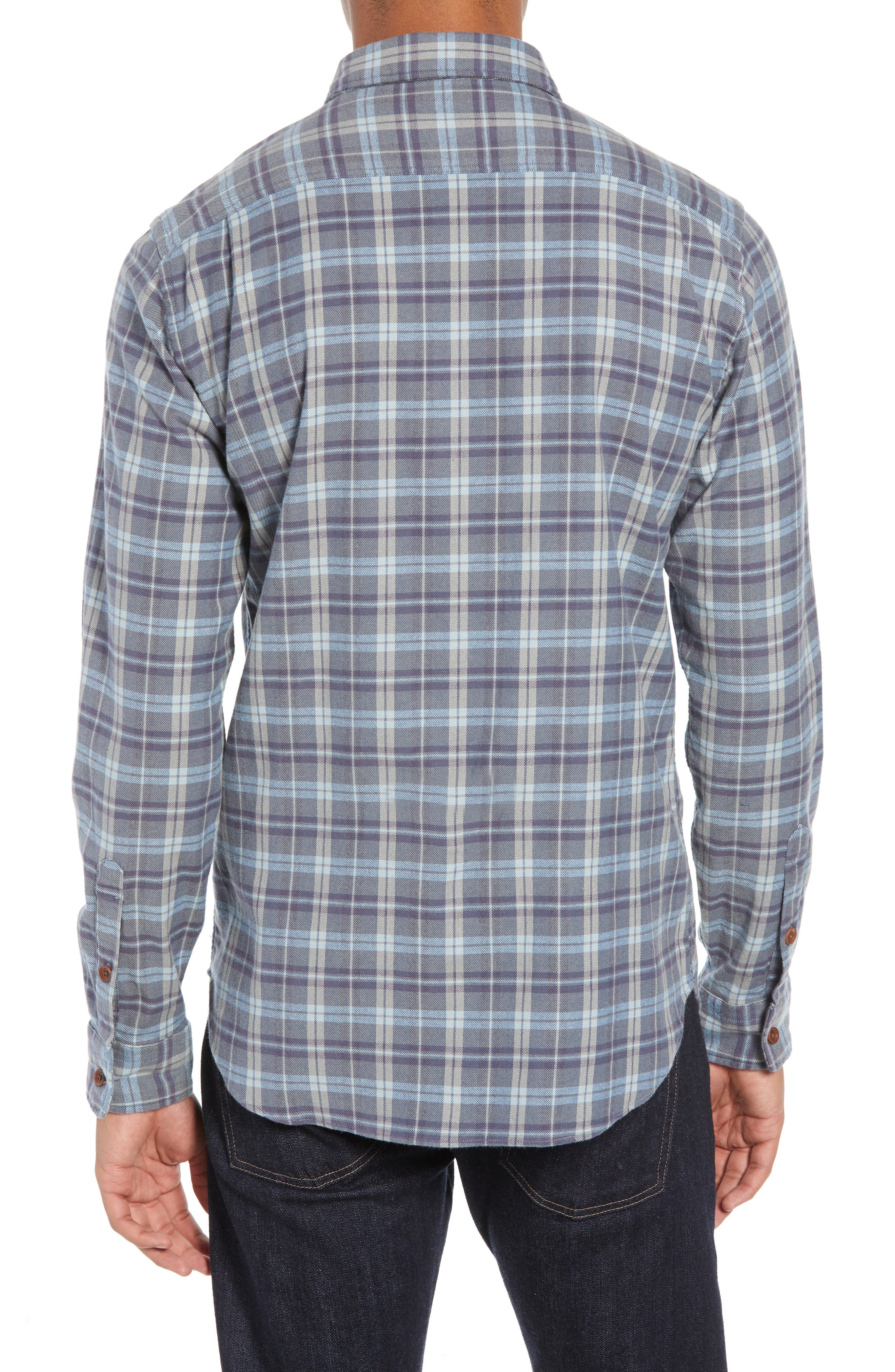 Seaview Stretch Flannel Shirt,                             Alternate thumbnail 3, color,                             DARK BLUE GREY