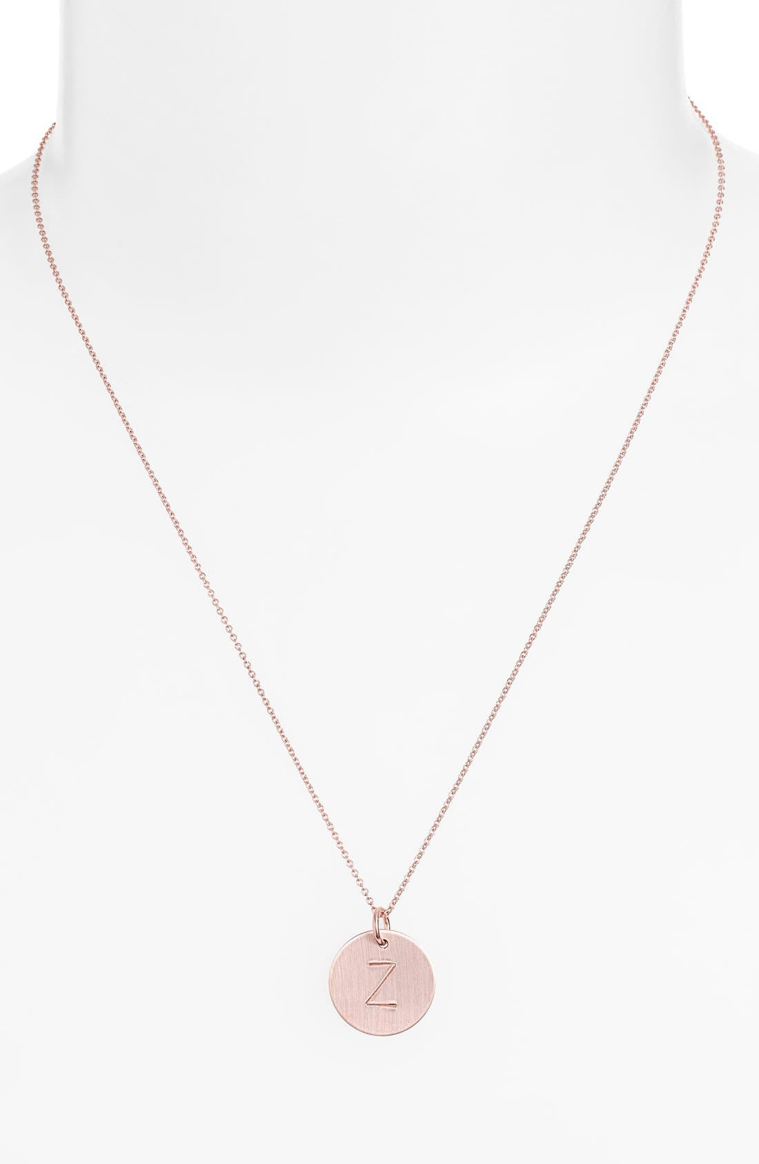 14k-Rose Gold Fill Initial Disc Necklace,                             Alternate thumbnail 52, color,