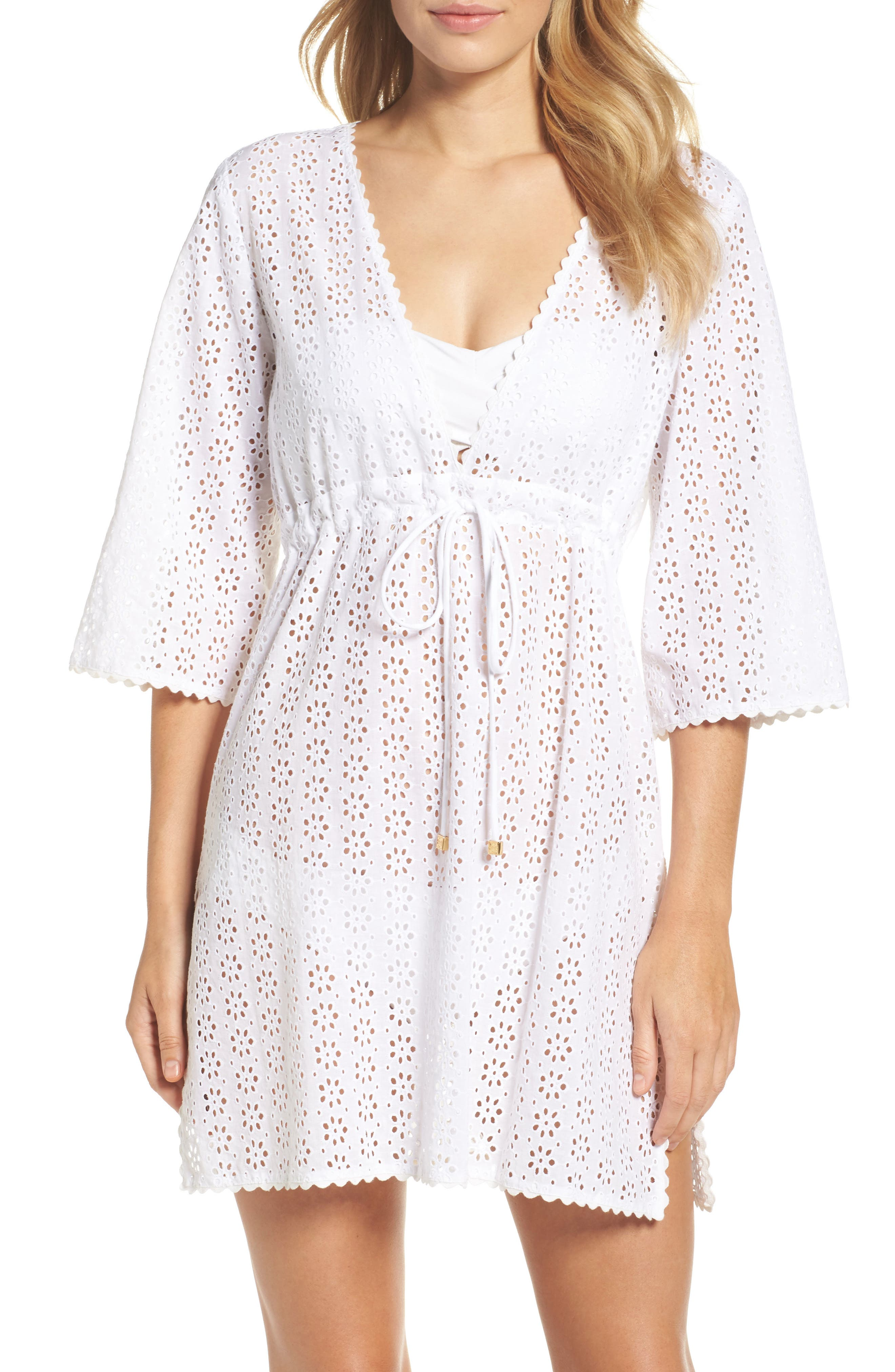 Broderie Anglais Cover-Up Dress,                         Main,                         color, 100