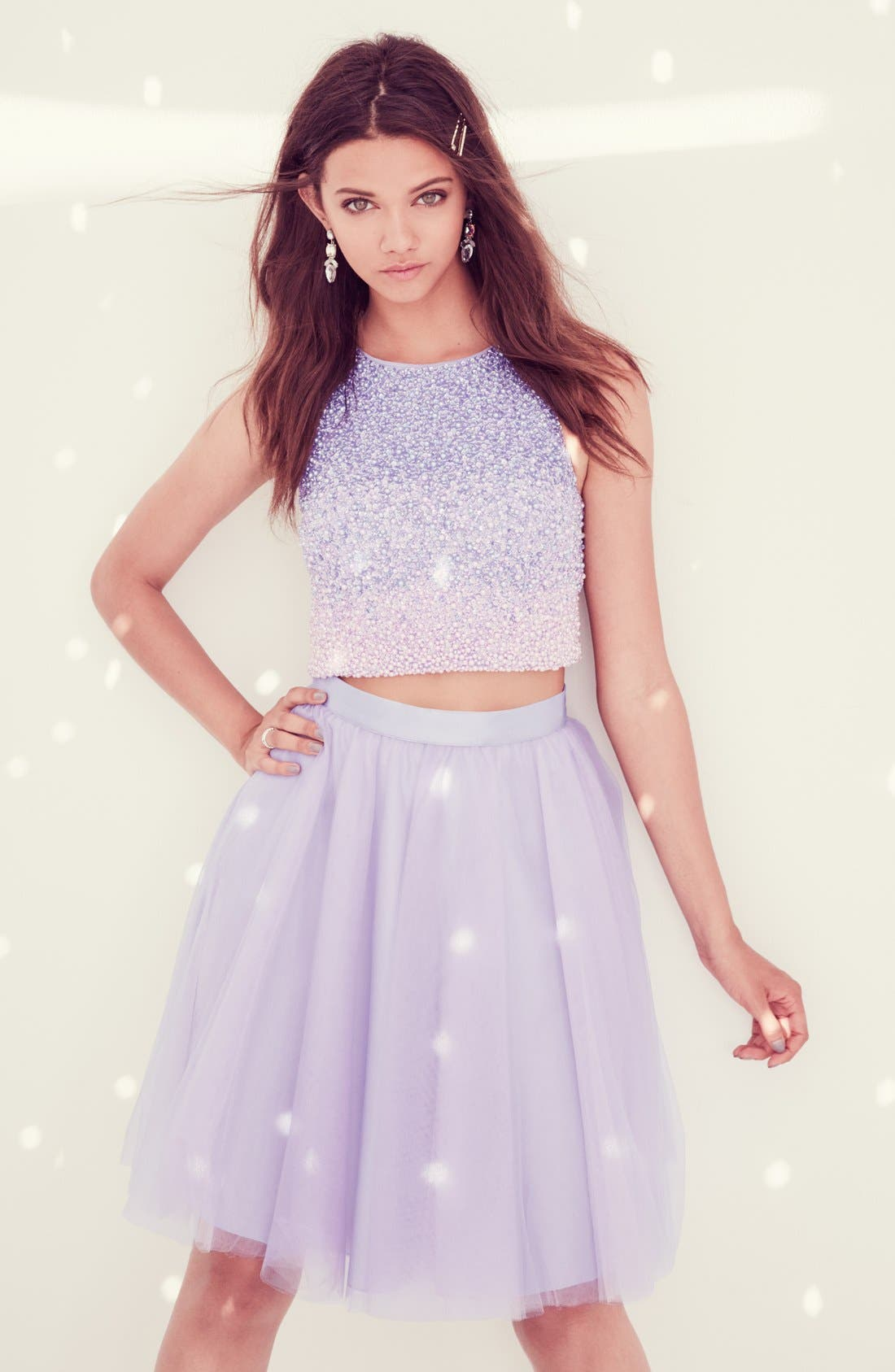 Beaded Top & Tulle Two-Piece Dress,                             Alternate thumbnail 6, color,                             531