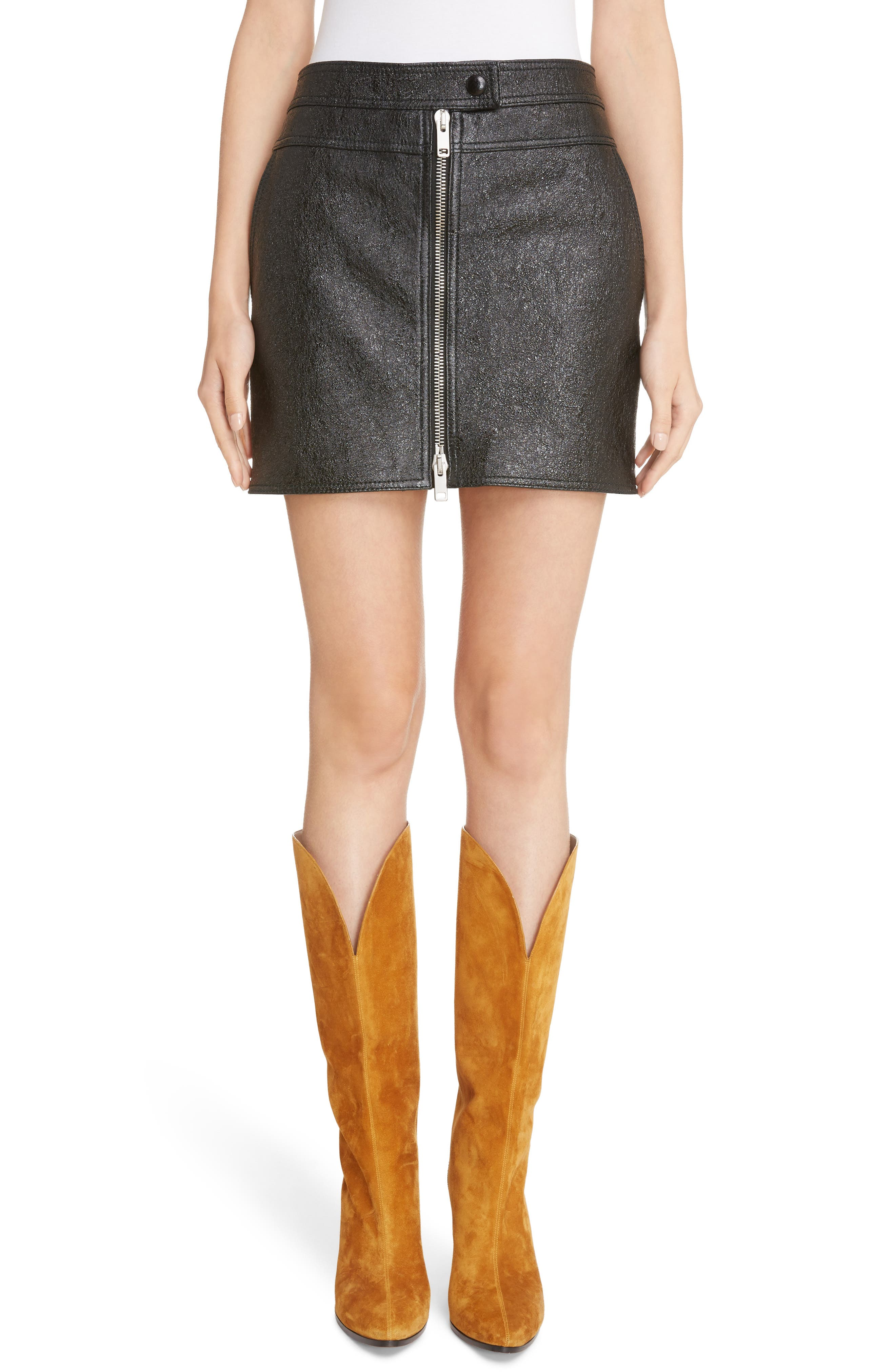 Coated Leather Miniskirt,                         Main,                         color, 001