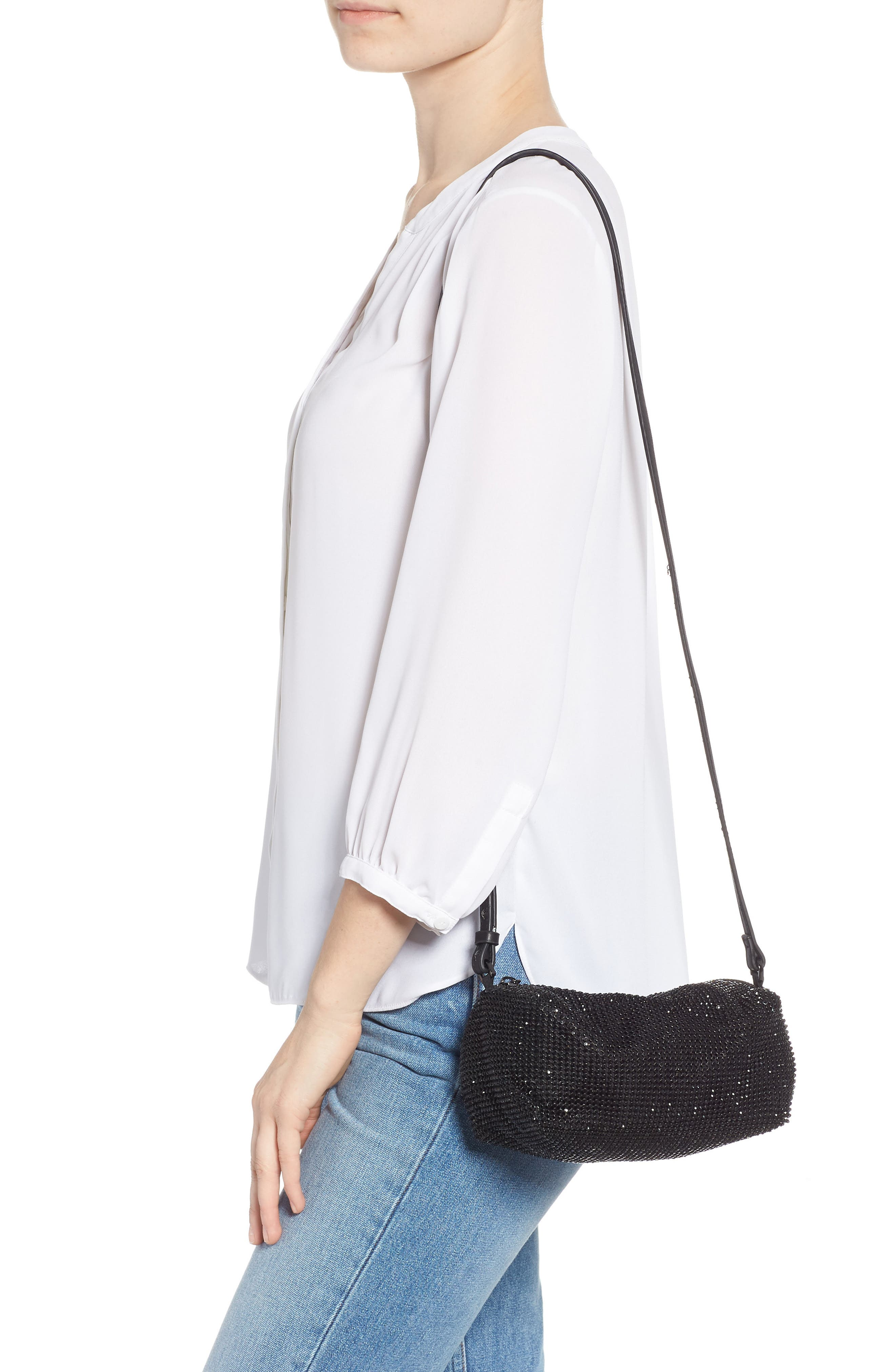 Chia Crystal Embellished Crossbody Bag,                             Alternate thumbnail 2, color,                             BLACK