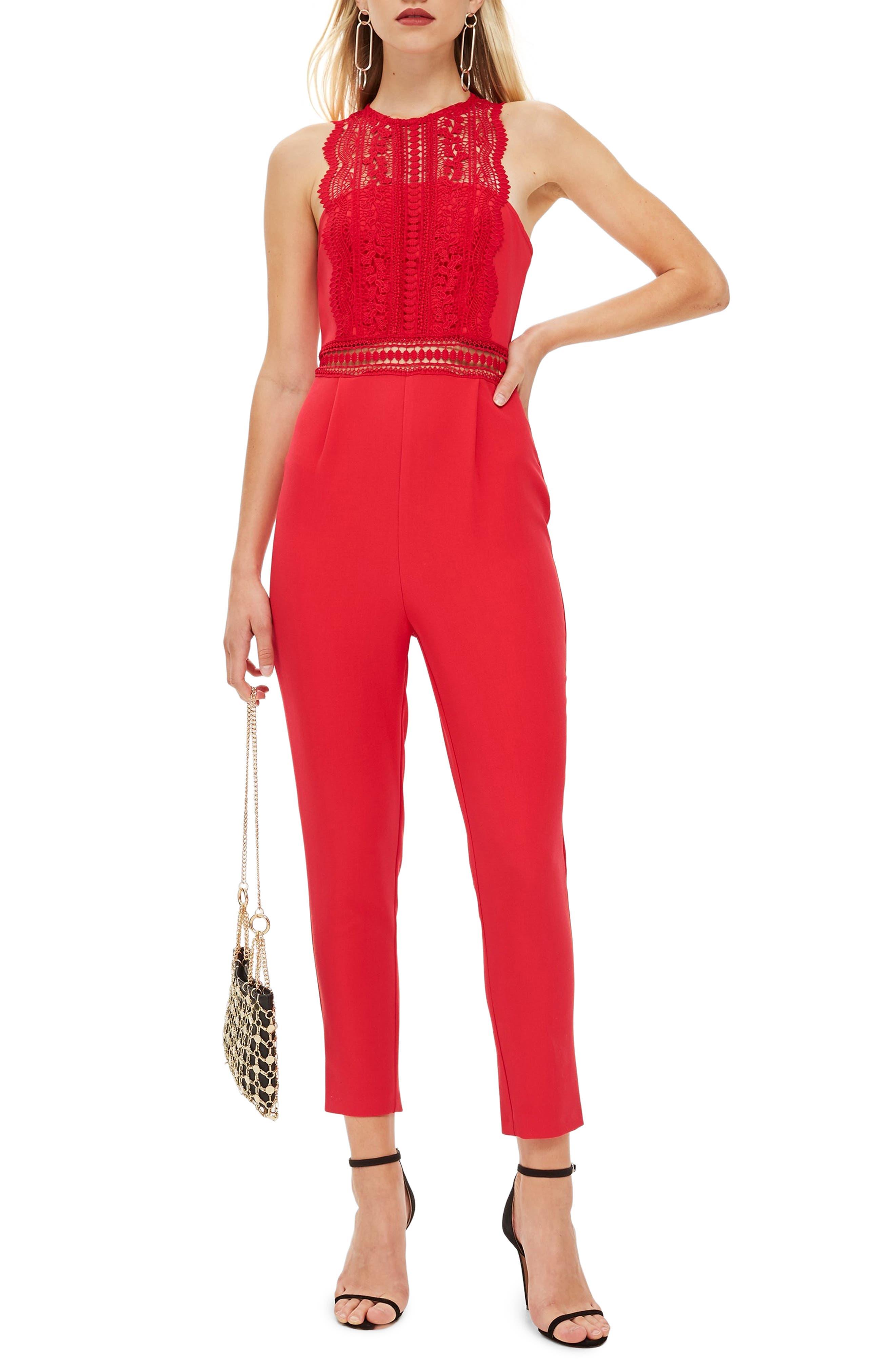 Saskia Lace Trim Jumpsuit,                             Main thumbnail 1, color,                             RED