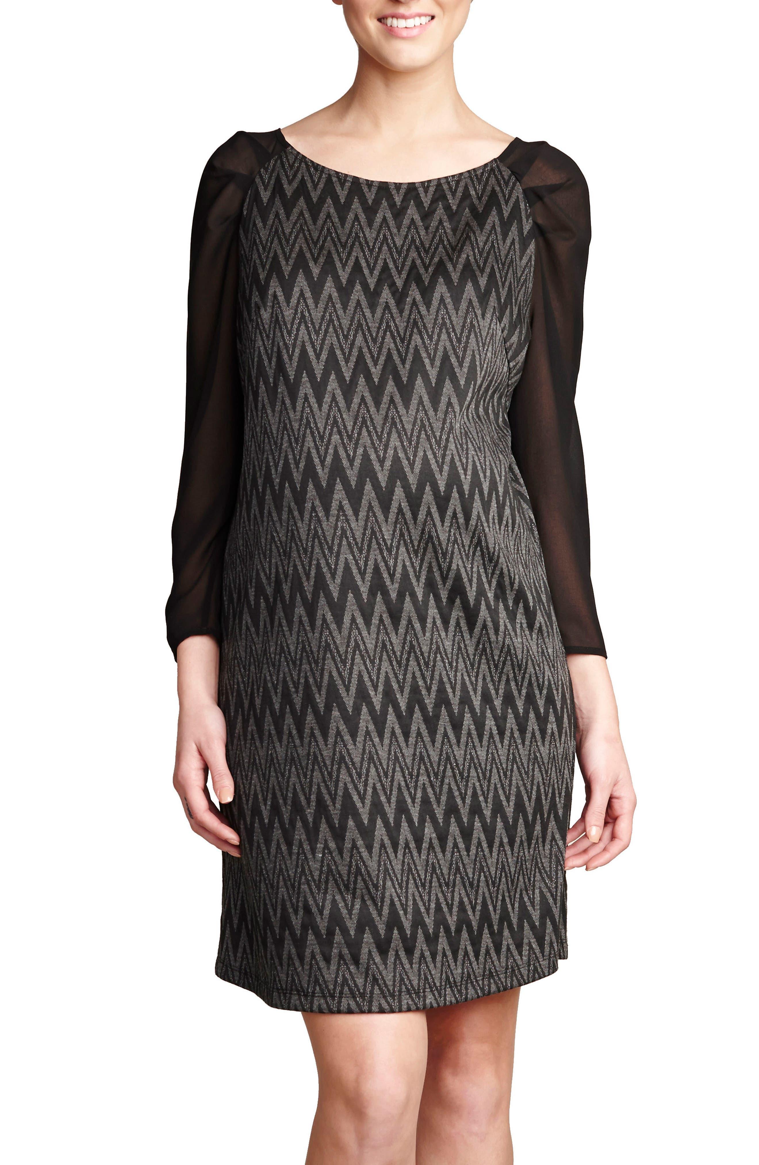 Chiffon Sleeve Maternity Dress,                             Alternate thumbnail 2, color,                             BLACK/ GREY ZIG ZAG