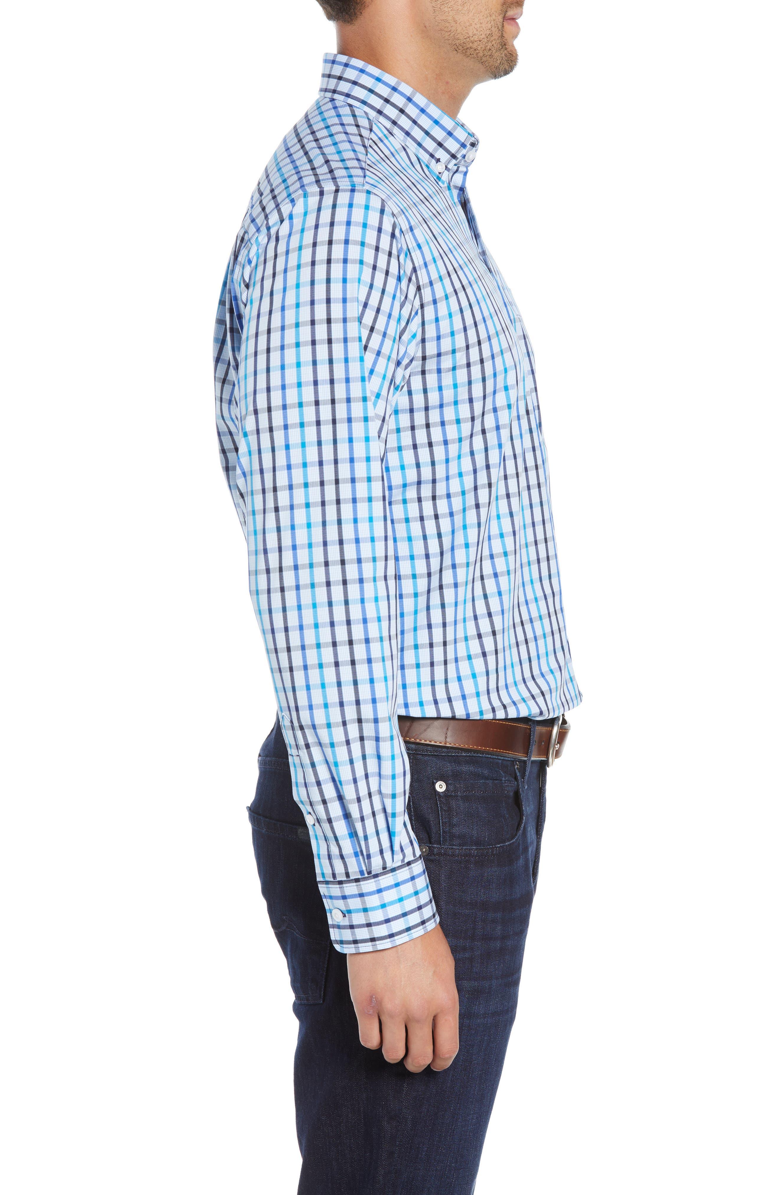 Clarence Regular Fit Plaid Sport Shirt,                             Alternate thumbnail 4, color,                             LIBERTY NAVY