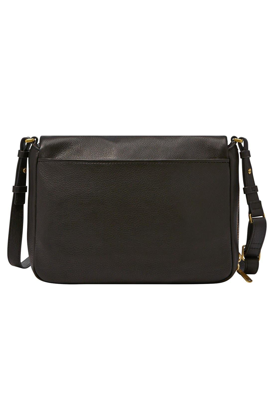 FOSSIL,                             'Preston' Leather Shoulder Bag,                             Alternate thumbnail 5, color,                             001