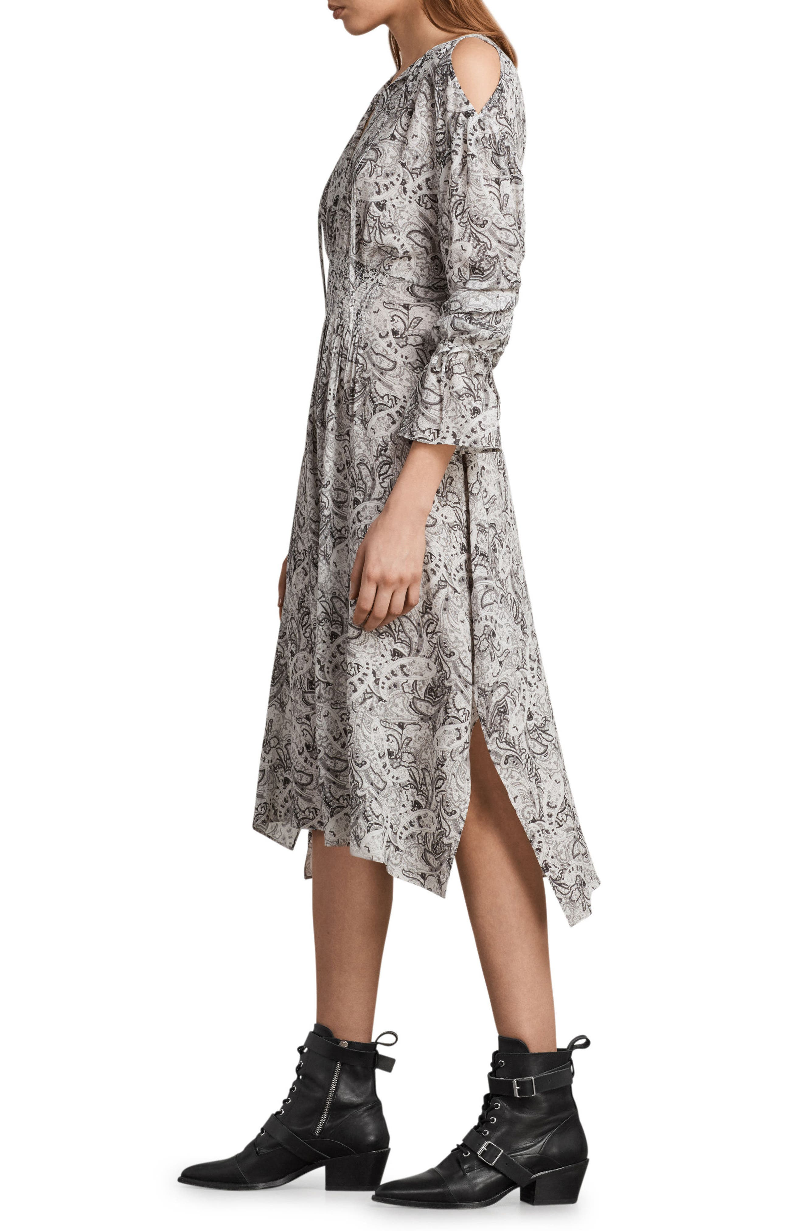 Lavete Paisley Cold Shoulder Midi Dress,                             Alternate thumbnail 3, color,                             100