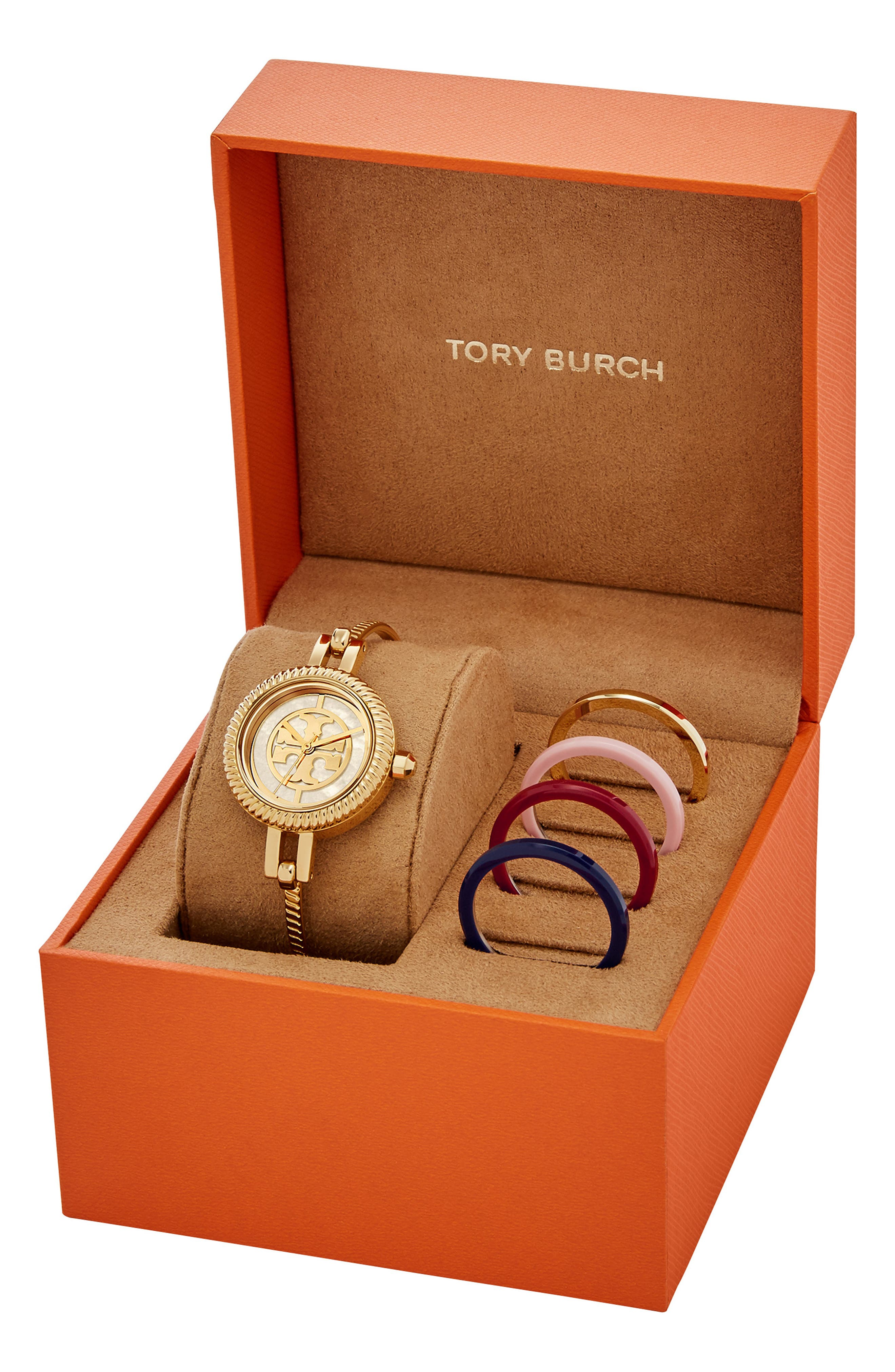 The Reva Bangle Watch Set, 29mm,                             Alternate thumbnail 3, color,                             GOLD/ MOP/ PINK/ RED/ BLUE