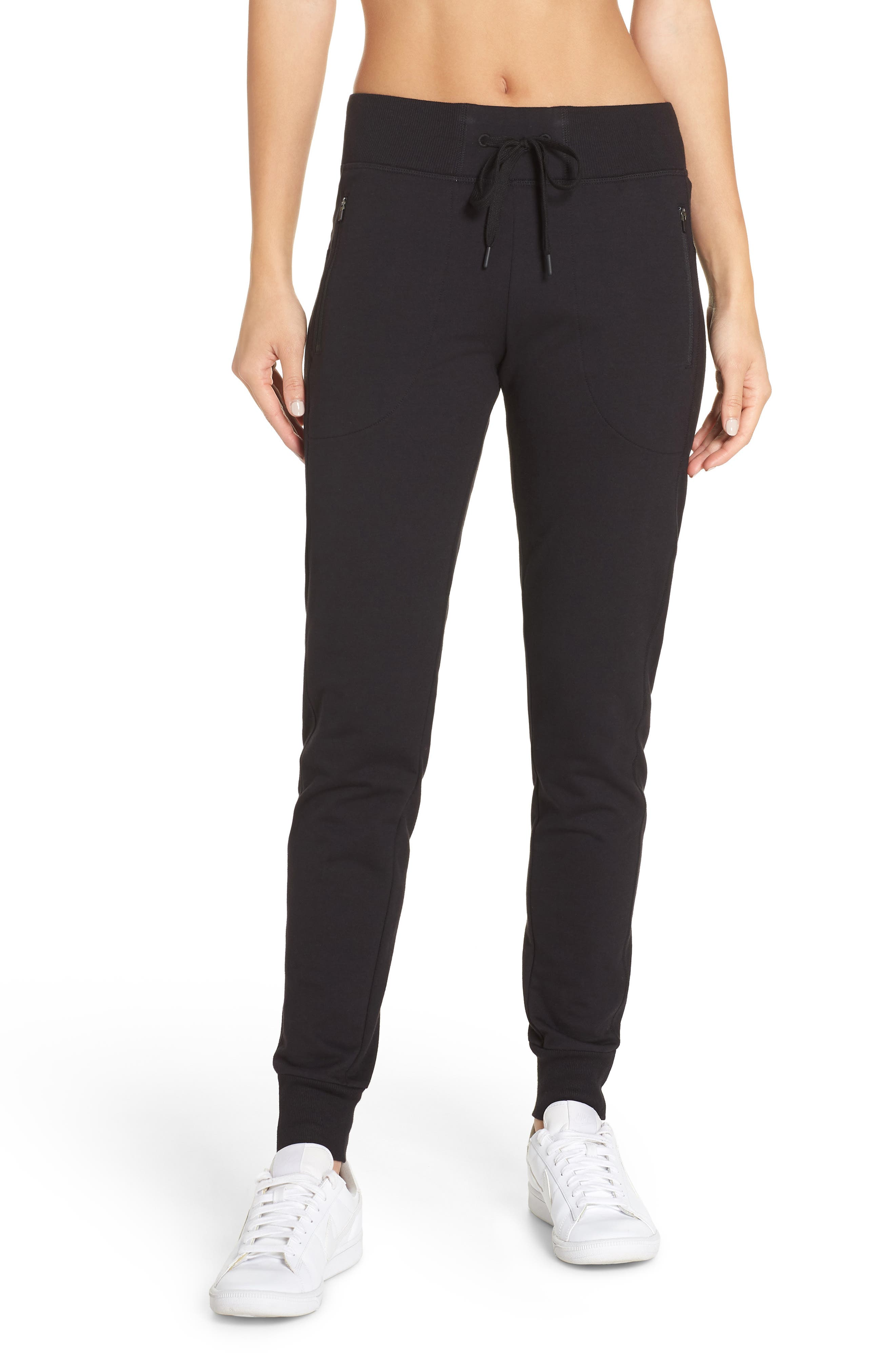Taryn Luxe Jogger Pants,                             Main thumbnail 1, color,                             BLACK