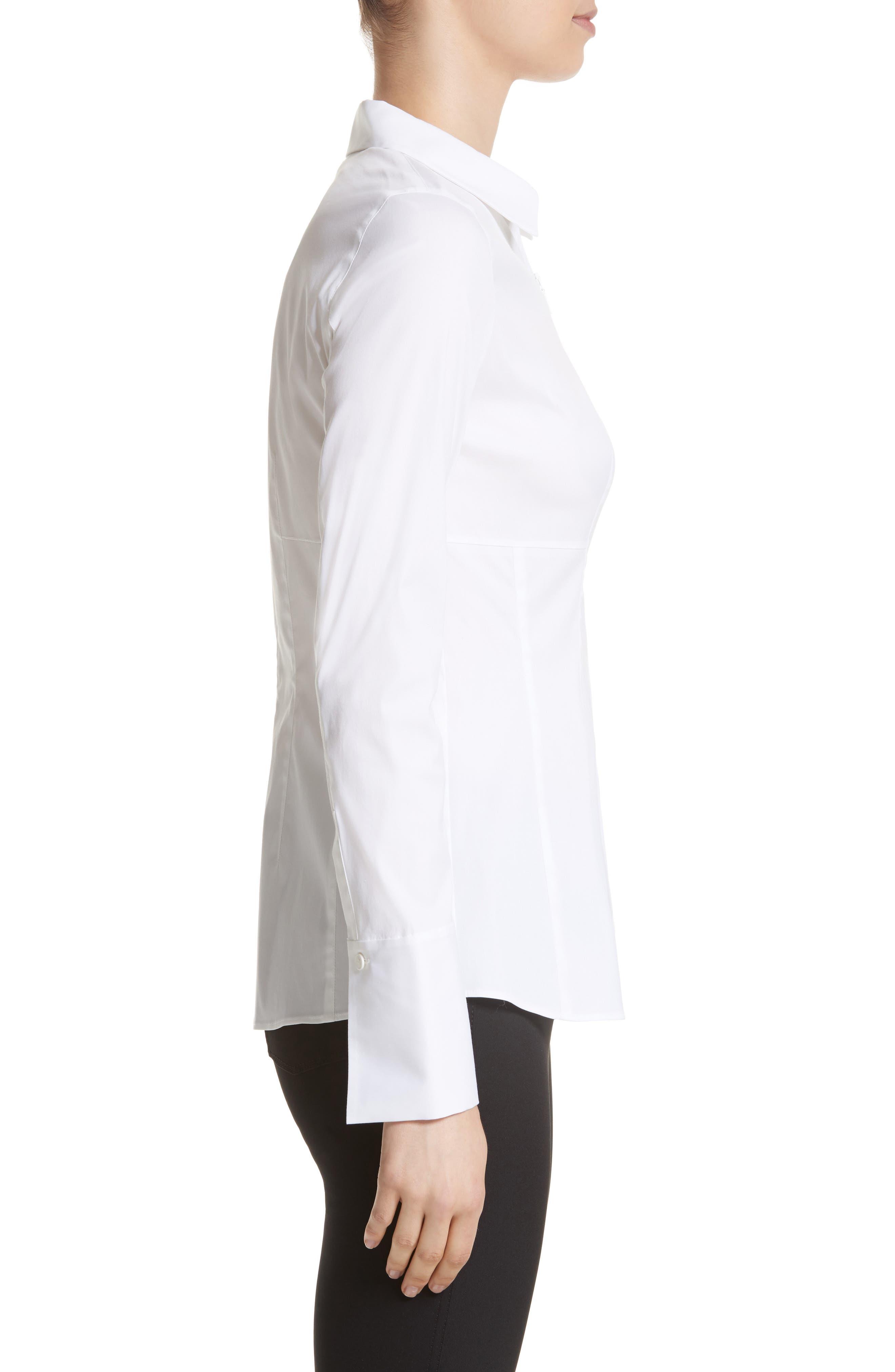 Kia Stretch Cotton Blouse,                             Alternate thumbnail 3, color,                             100