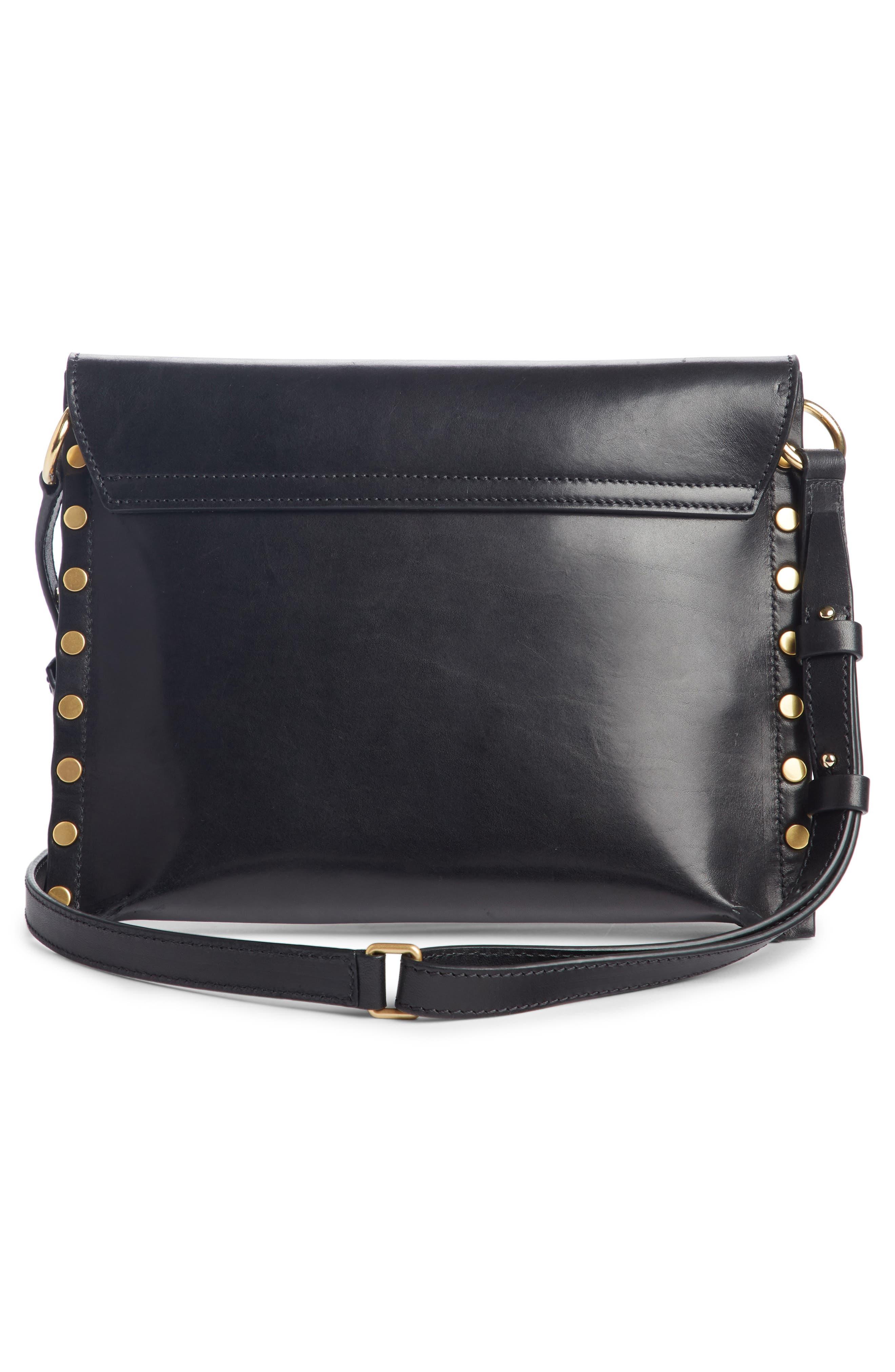 Sinky Leather Crossbody Bag,                             Alternate thumbnail 2, color,                             BLACK