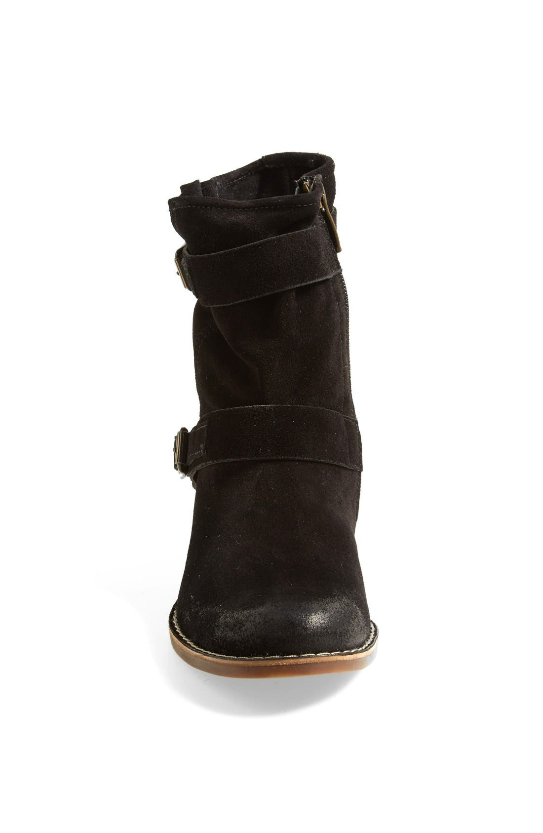 'Ally' Belted Suede Moto Boot,                             Alternate thumbnail 4, color,                             002