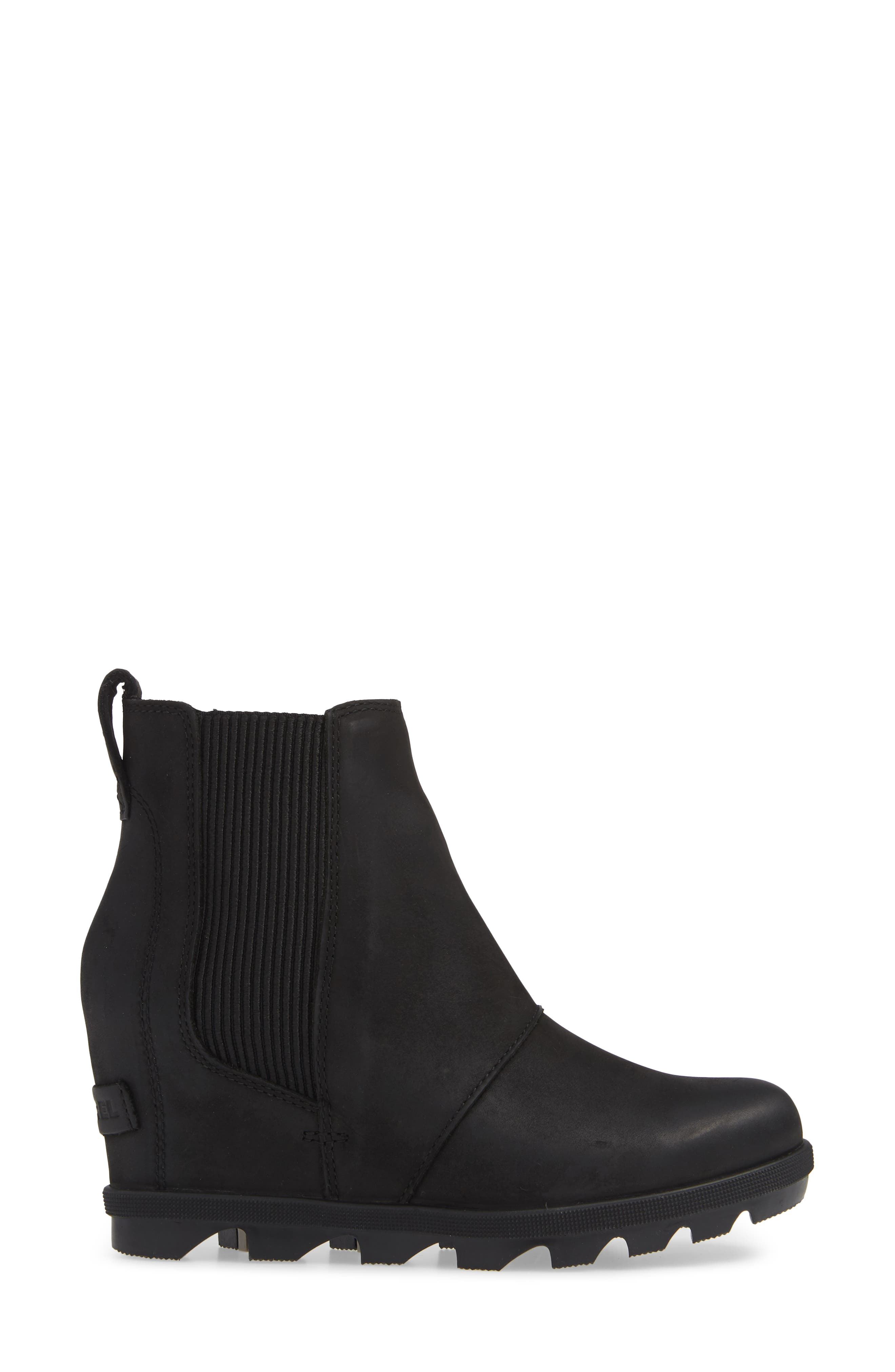 SOREL,                             Joan of Arctic II Waterproof Wedge Bootie,                             Alternate thumbnail 3, color,                             BLACK