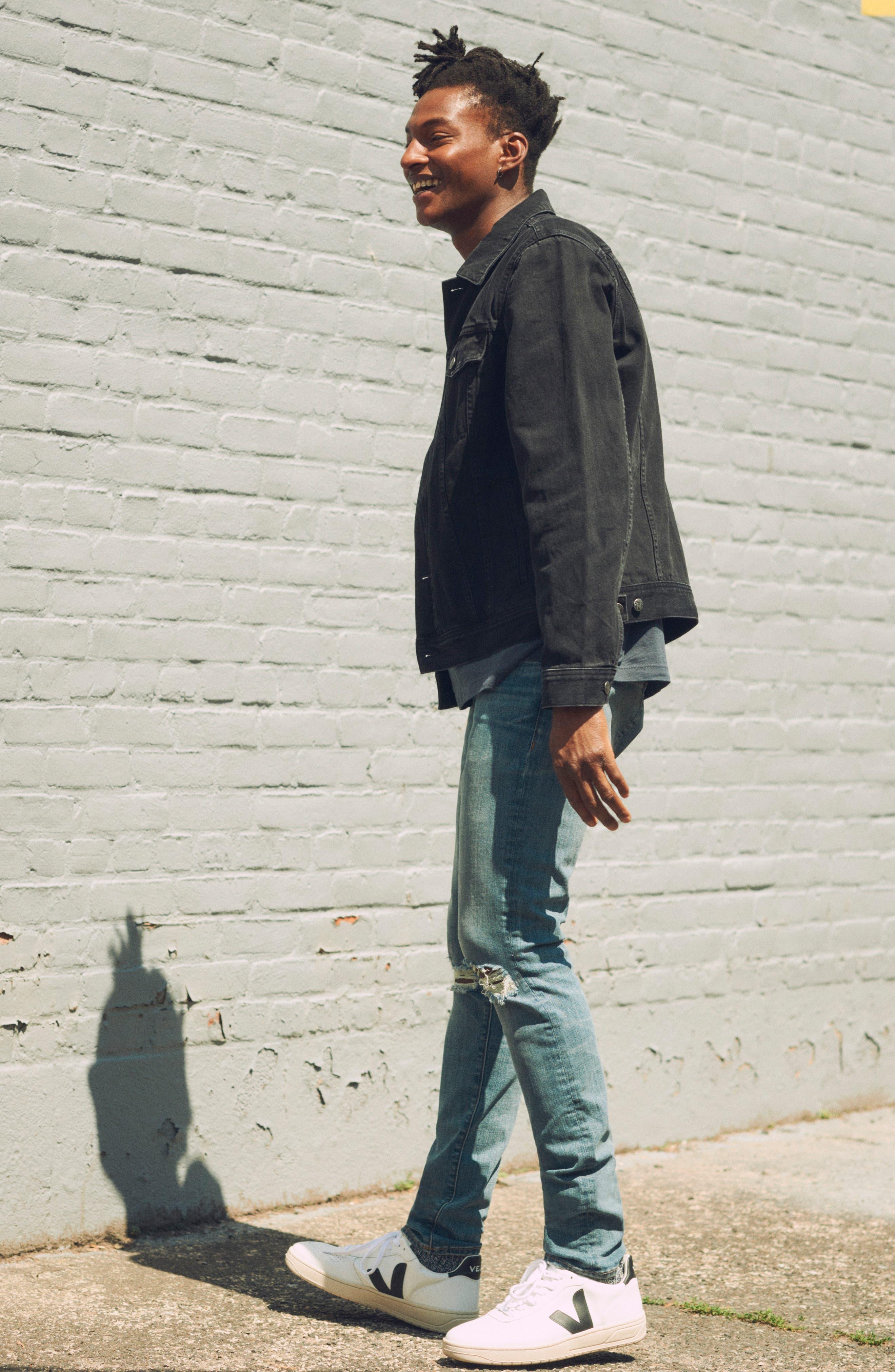 Classic Denim Jacket,                             Alternate thumbnail 8, color,                             BLACK