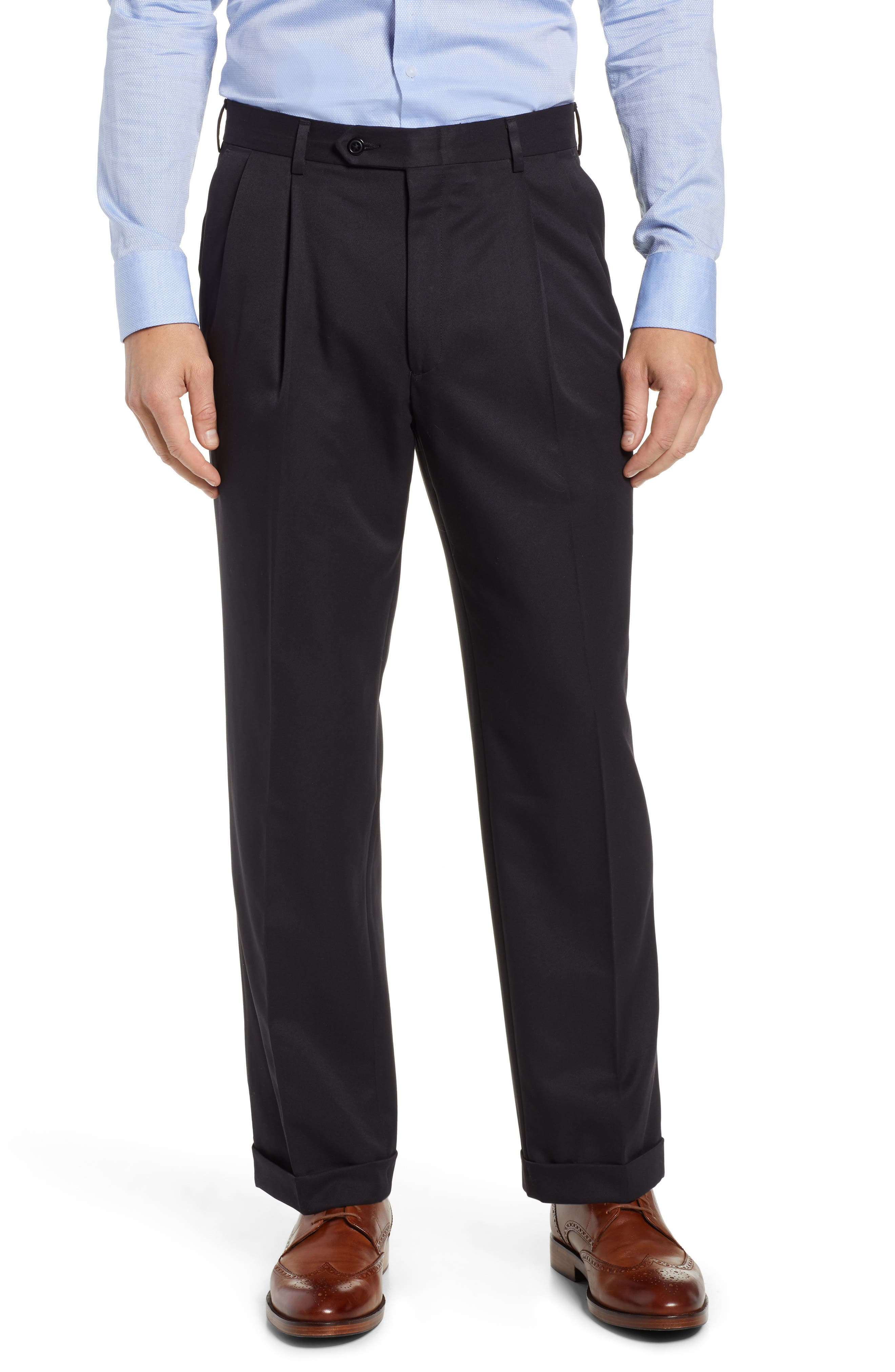 Classic Fit Pleated Microfiber Performance Trousers,                         Main,                         color, BLACK