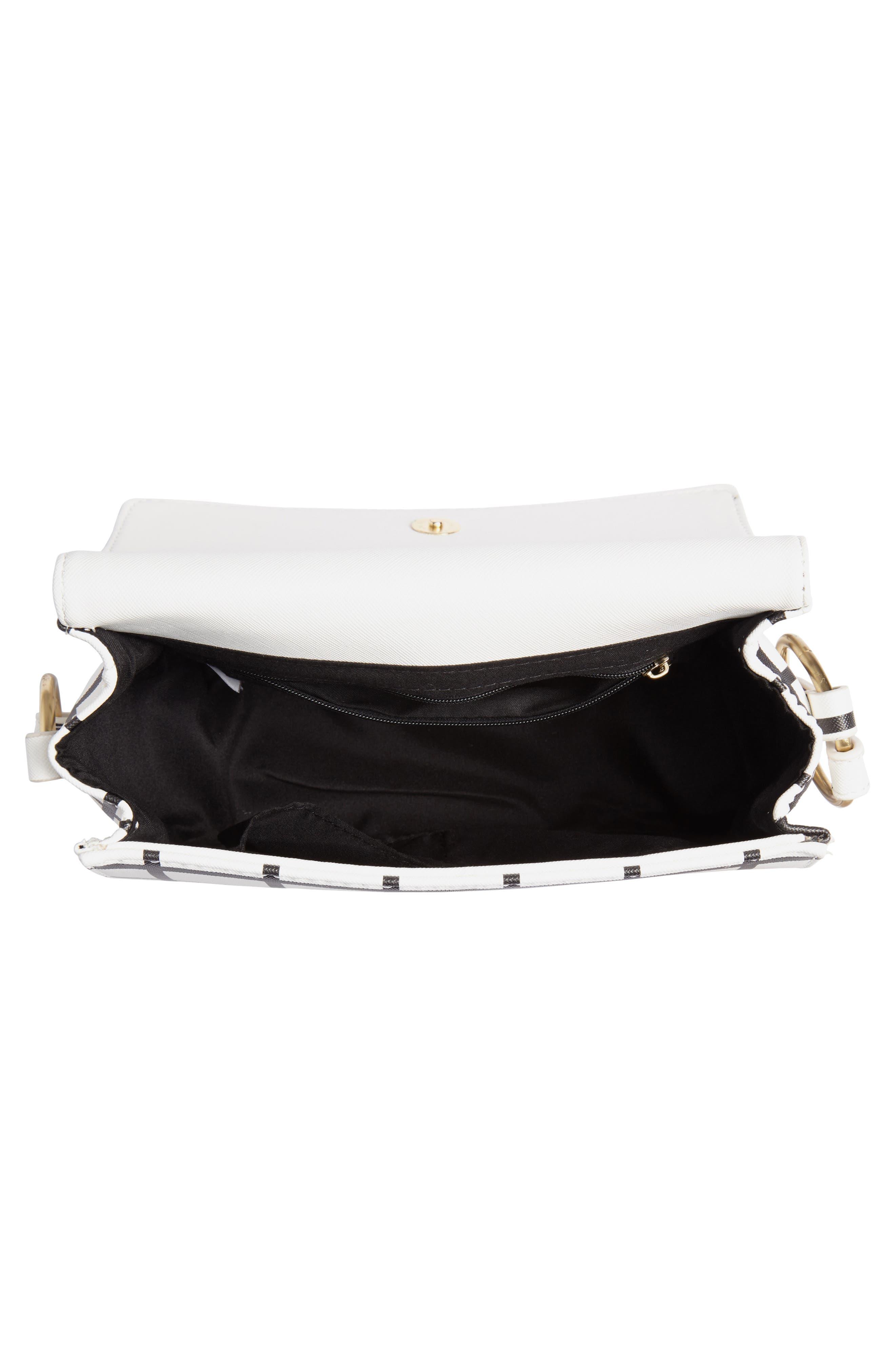Windowpane Check Faux Leather Crossbody Bag,                             Alternate thumbnail 4, color,                             BLACK/ WHITE