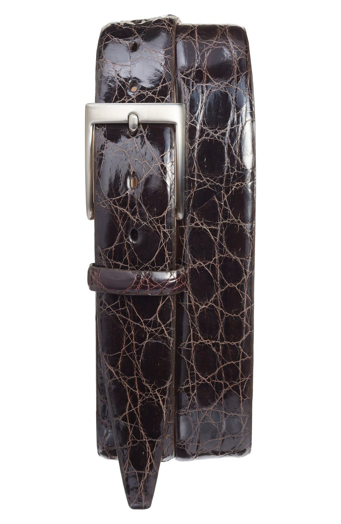 Caiman Alligator Leather Belt,                             Main thumbnail 1, color,                             BROWN