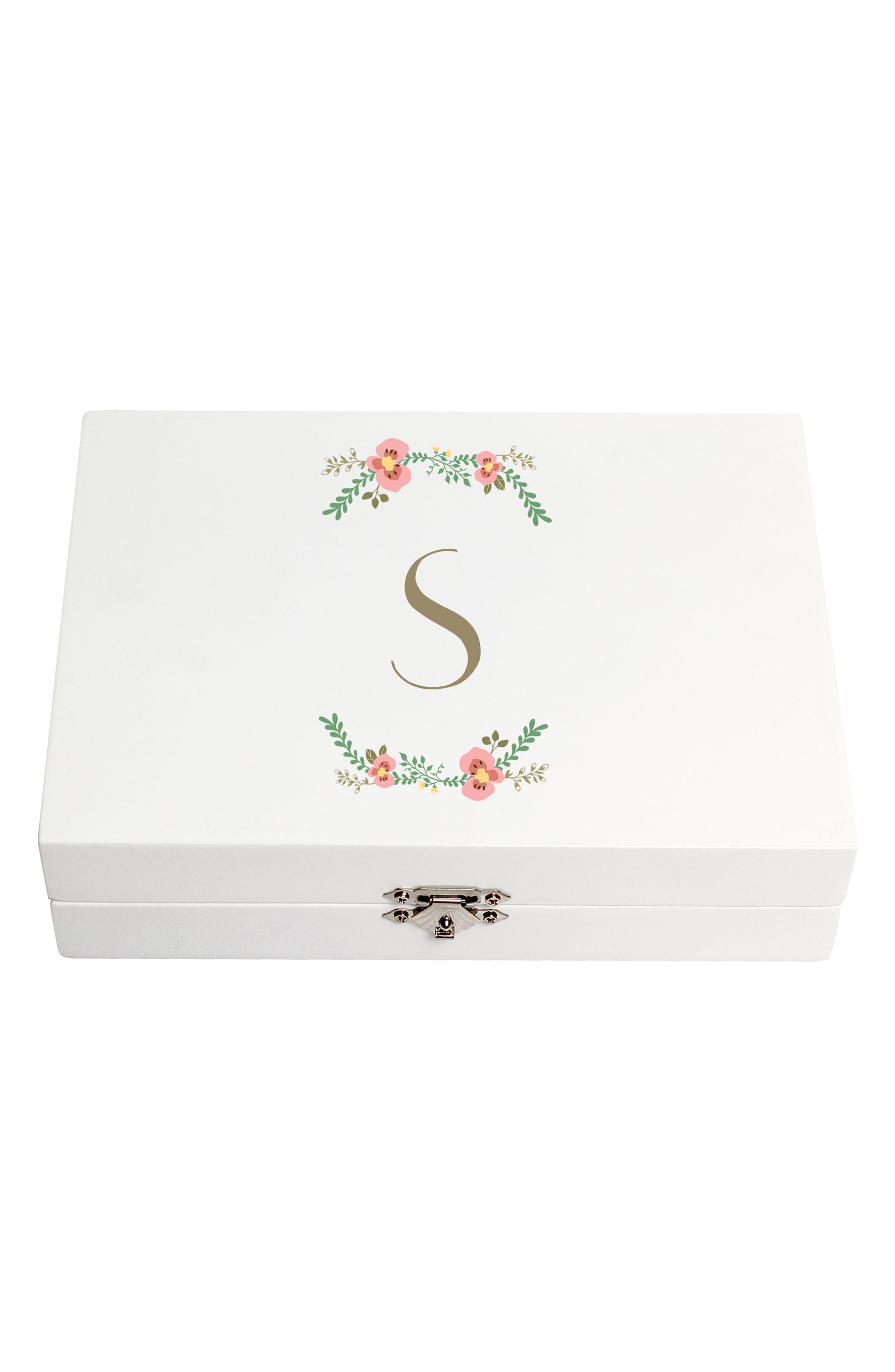 Monogram Floral Wedding Ring Box,                             Main thumbnail 19, color,