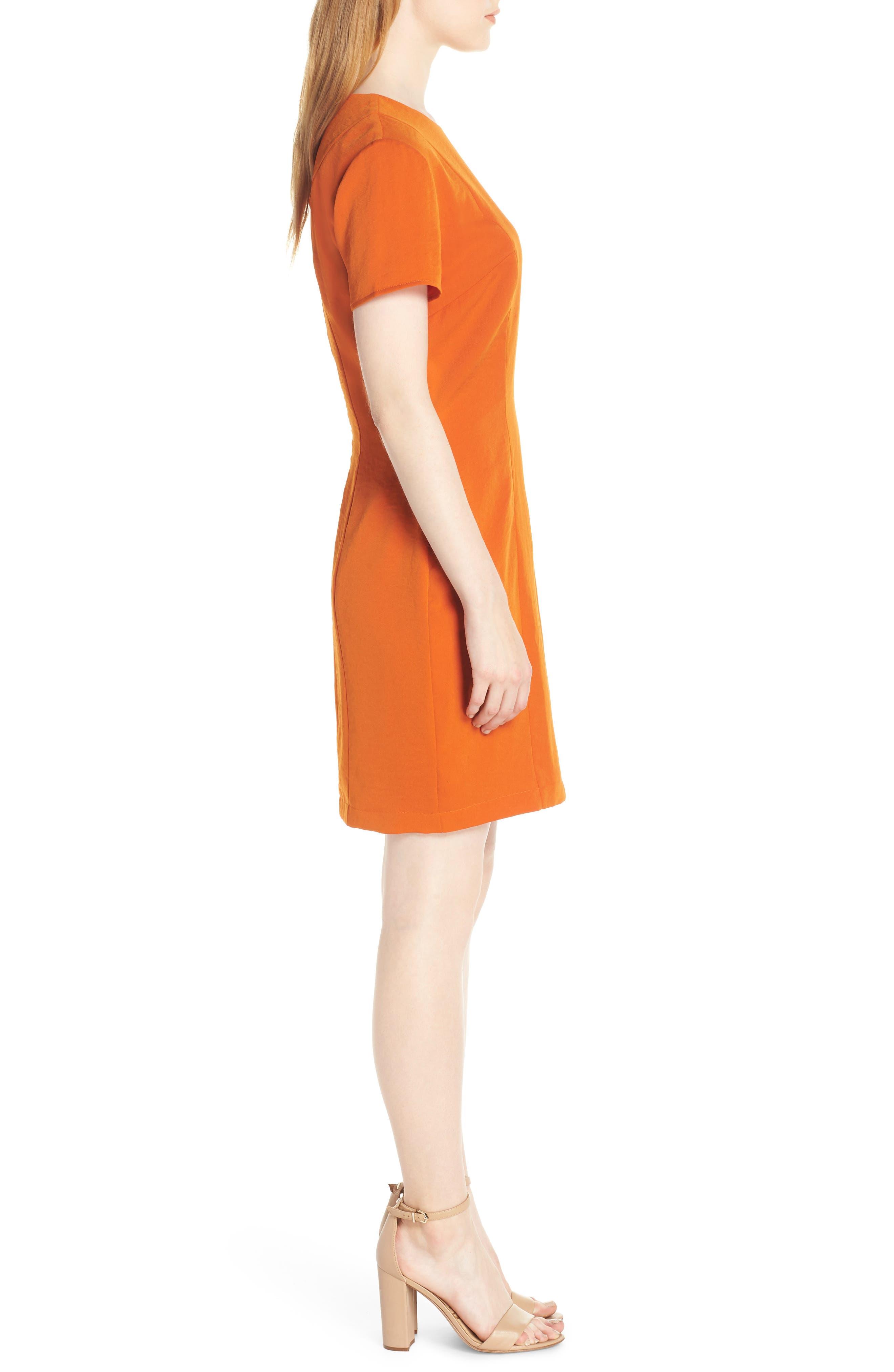 Sofia Short Sleeve Sheath Dress,                             Alternate thumbnail 3, color,                             ORANGE