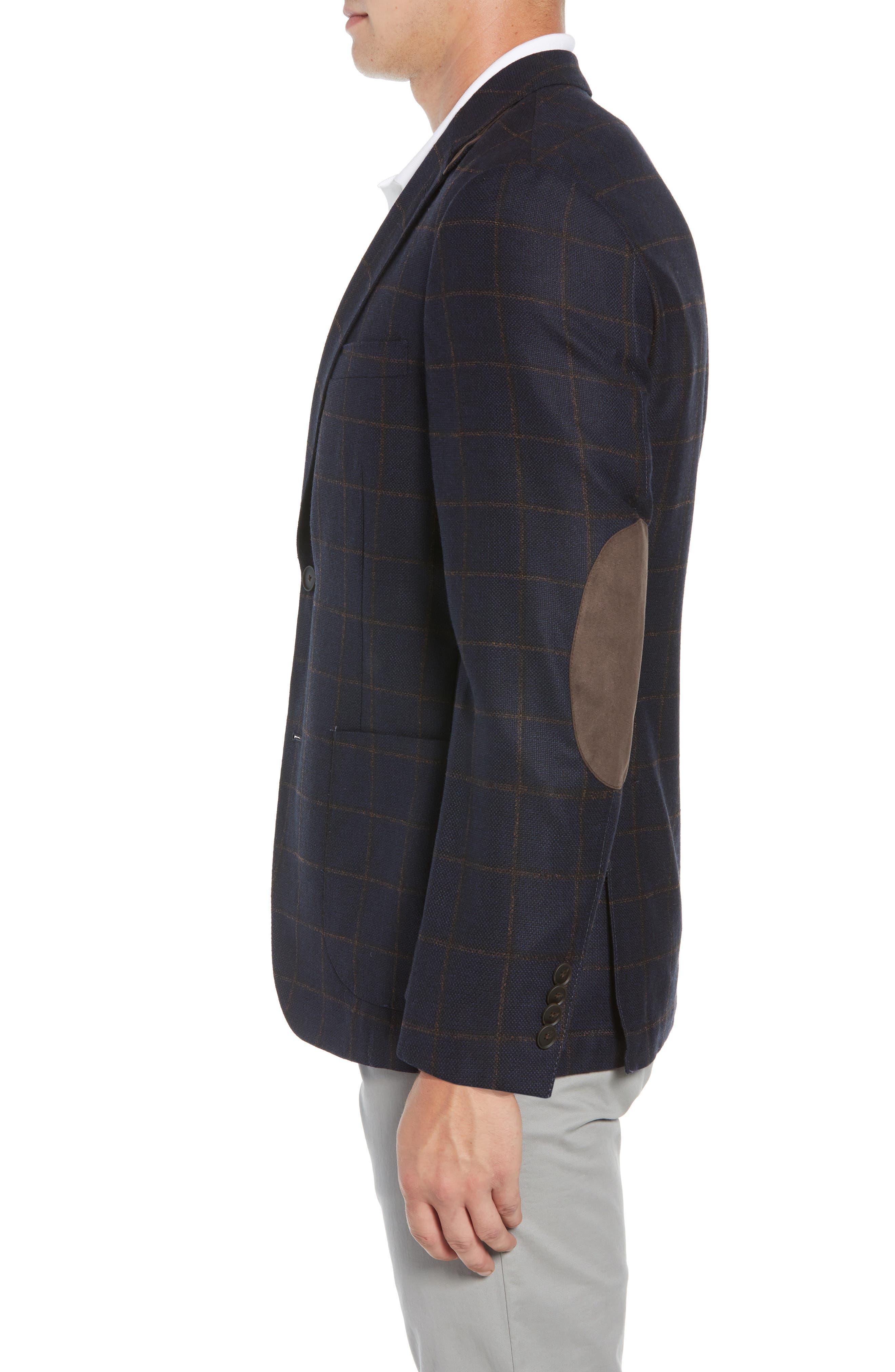 Edge 2 Classic Fit Windowpane Wool Sport Coat,                             Alternate thumbnail 3, color,                             410