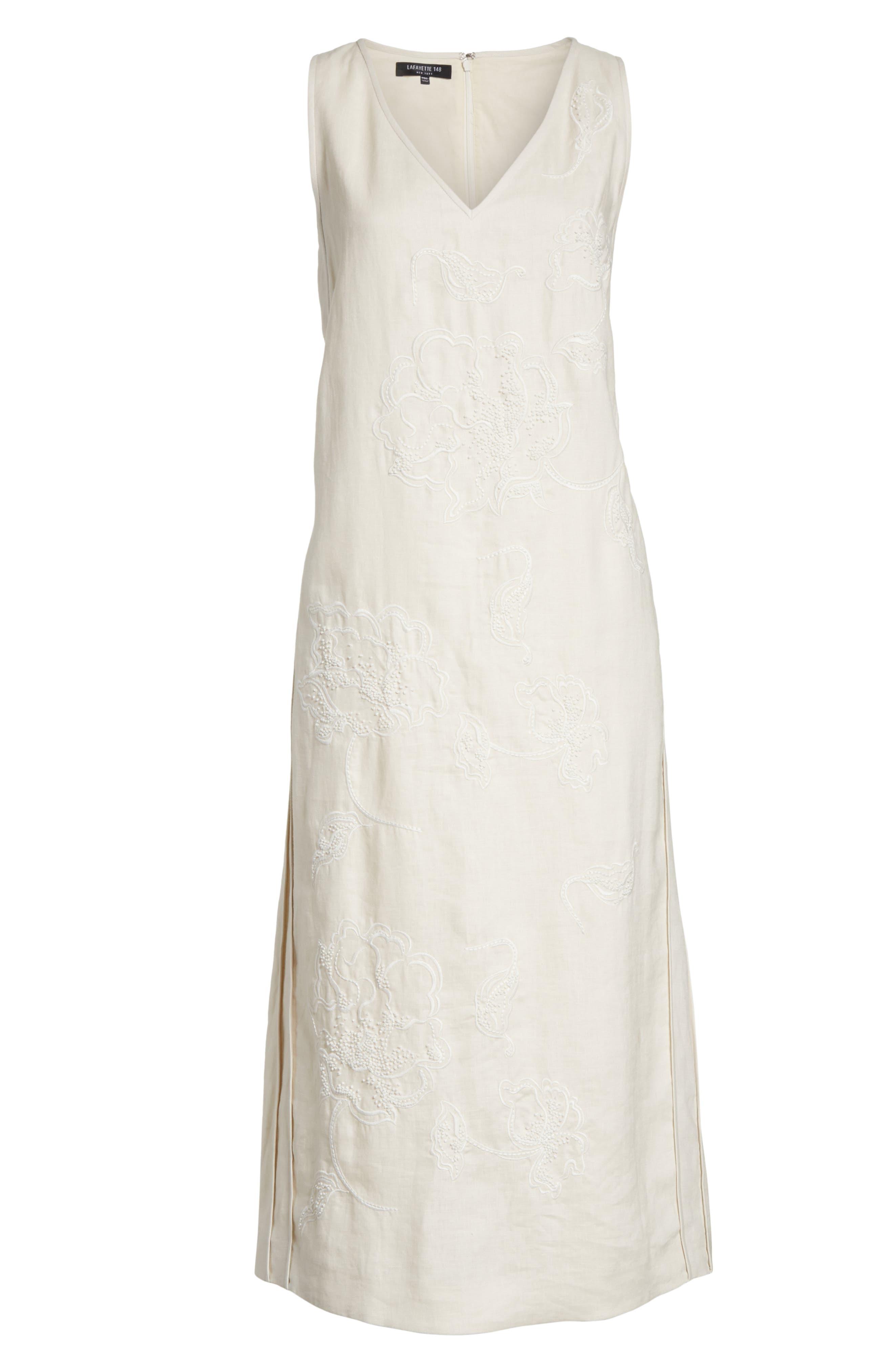 Duncan Embroidered Linen Dress,                             Alternate thumbnail 6, color,                             252