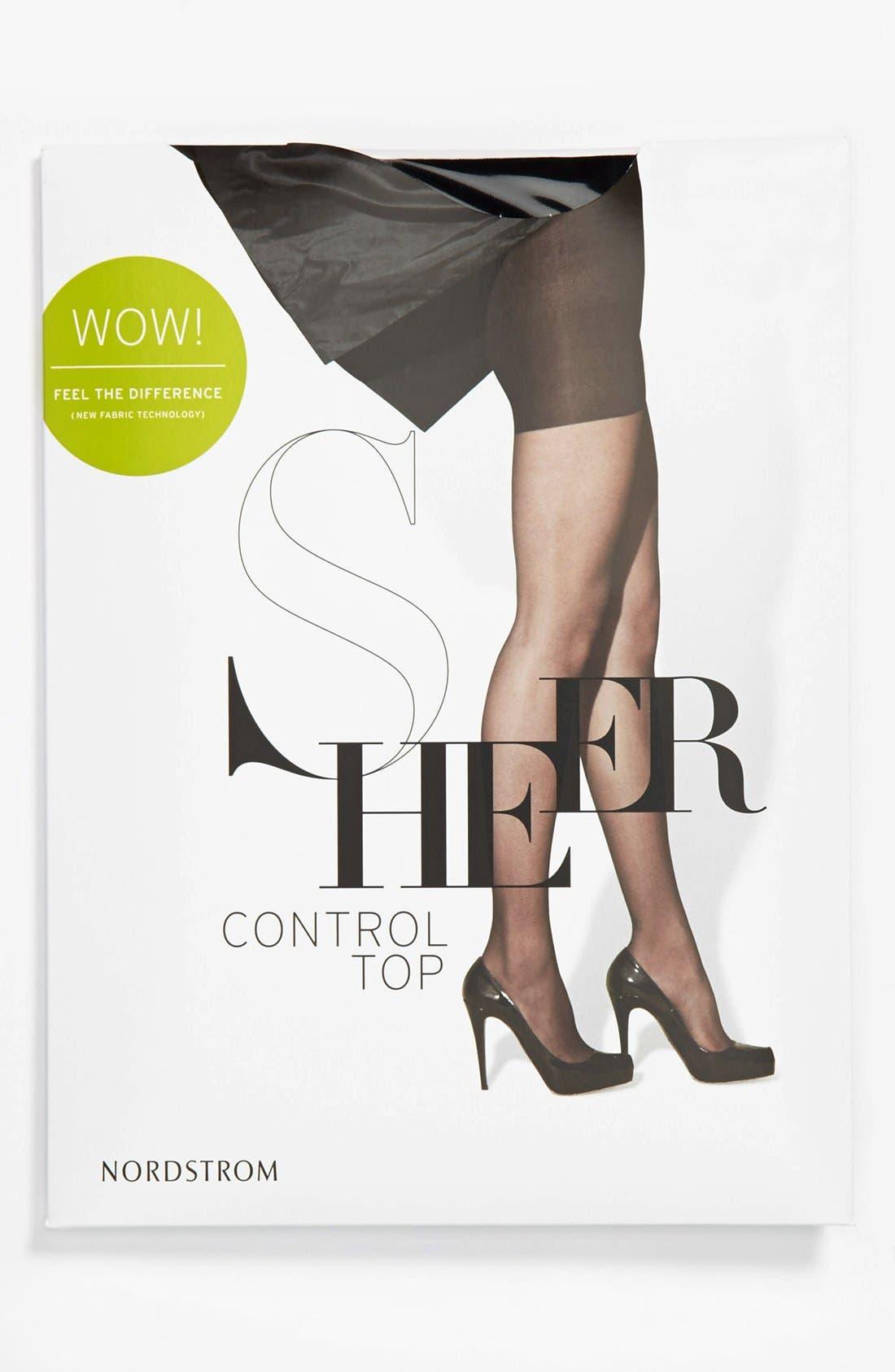Sheer Control Top Pantyhose,                             Alternate thumbnail 4, color,                             001