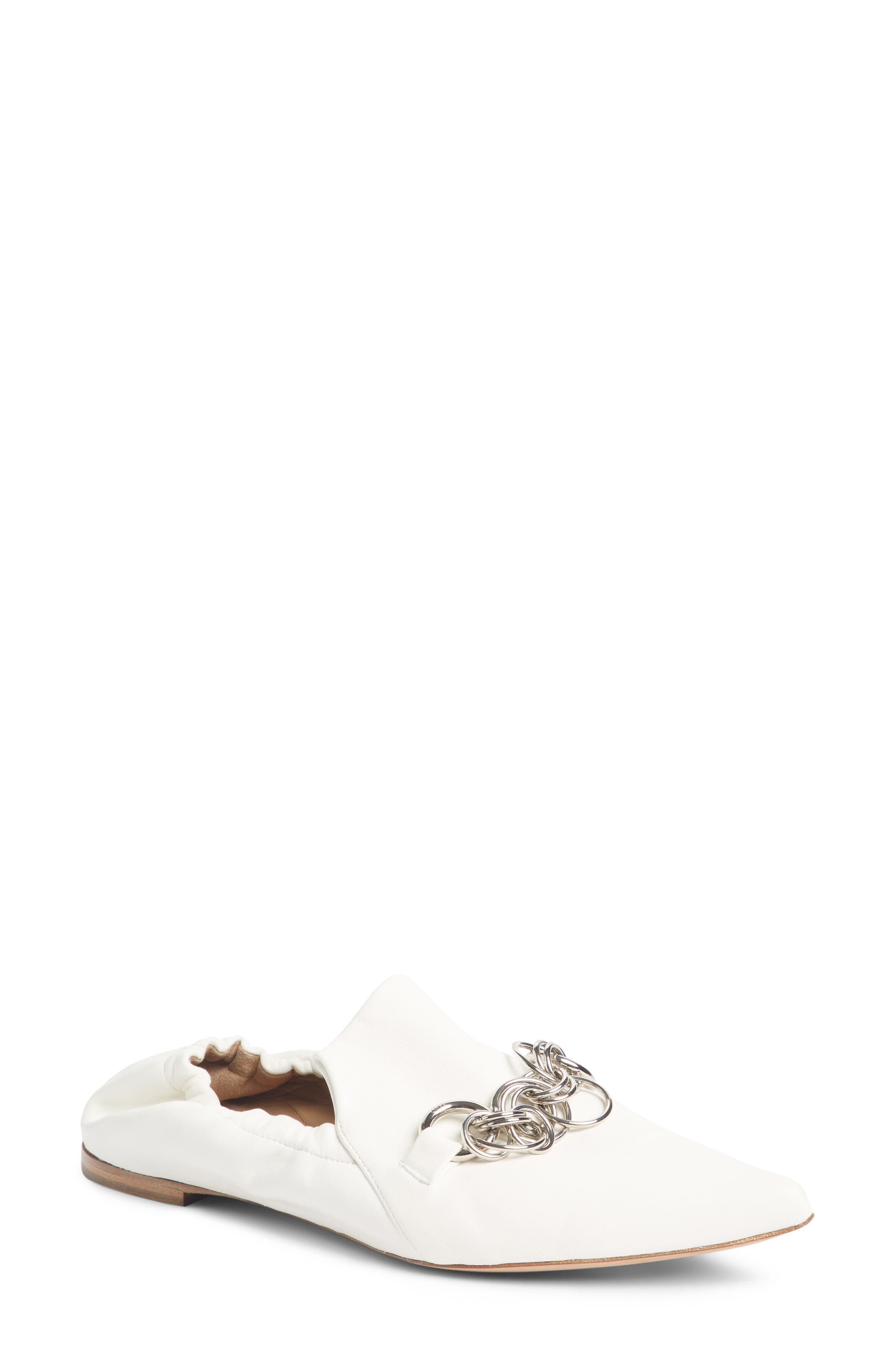 Chloe Reese Chain Bit Loafer Flat, White