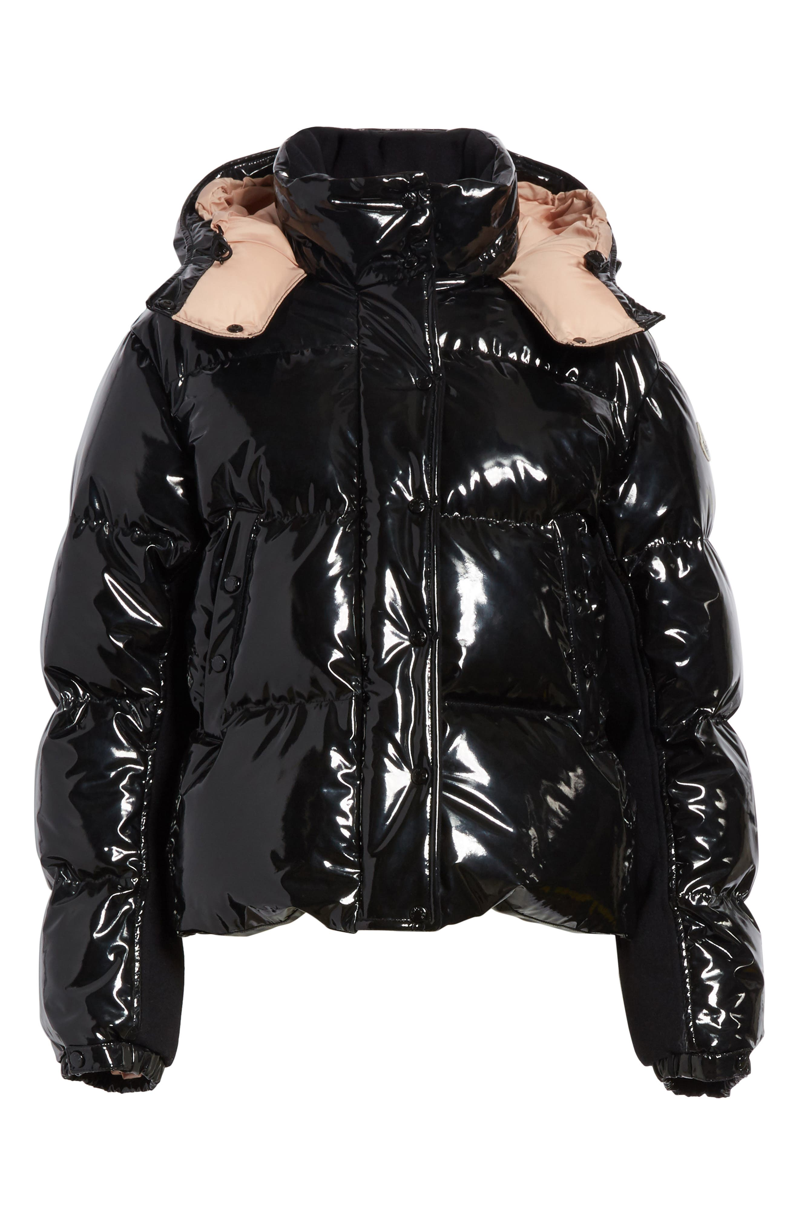 Gaura Shiny Down Quilted Puffer Coat,                             Alternate thumbnail 5, color,                             001