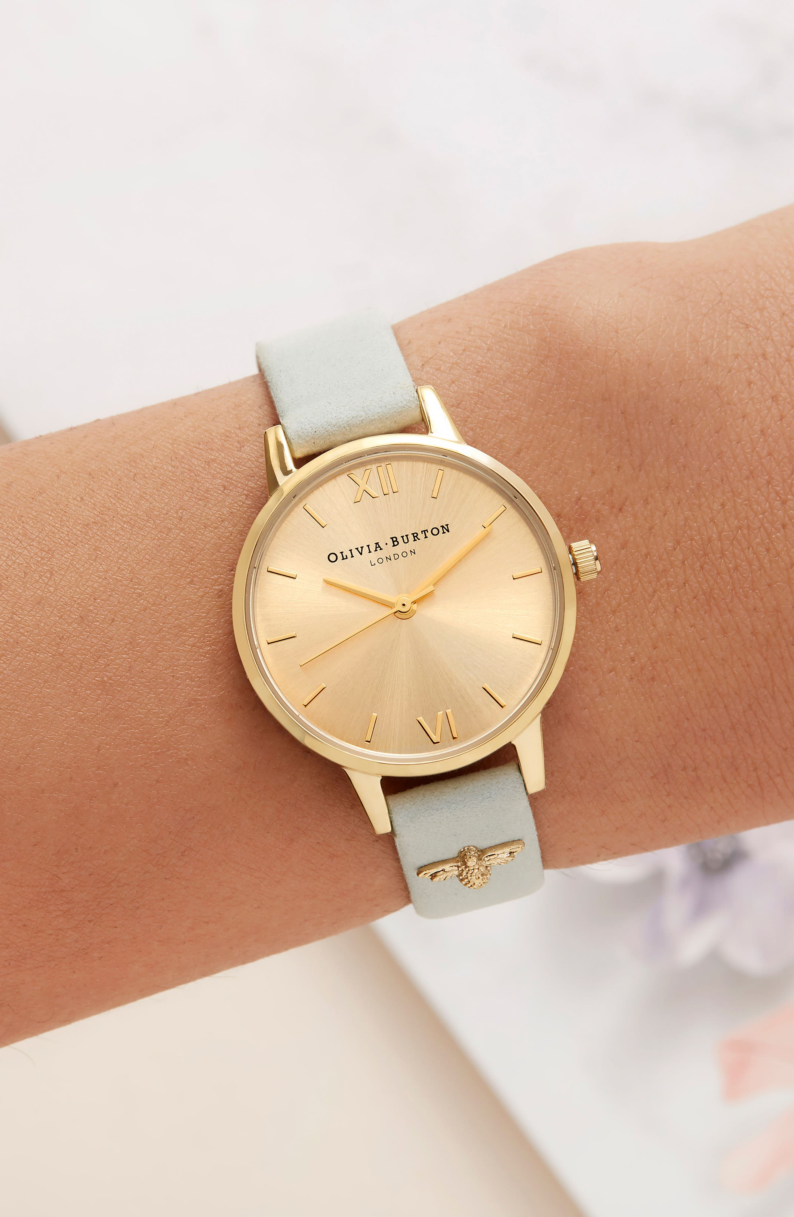 Bee Leather Strap Watch, 30mm,                             Alternate thumbnail 3, color,                             SAGE/ GOLD