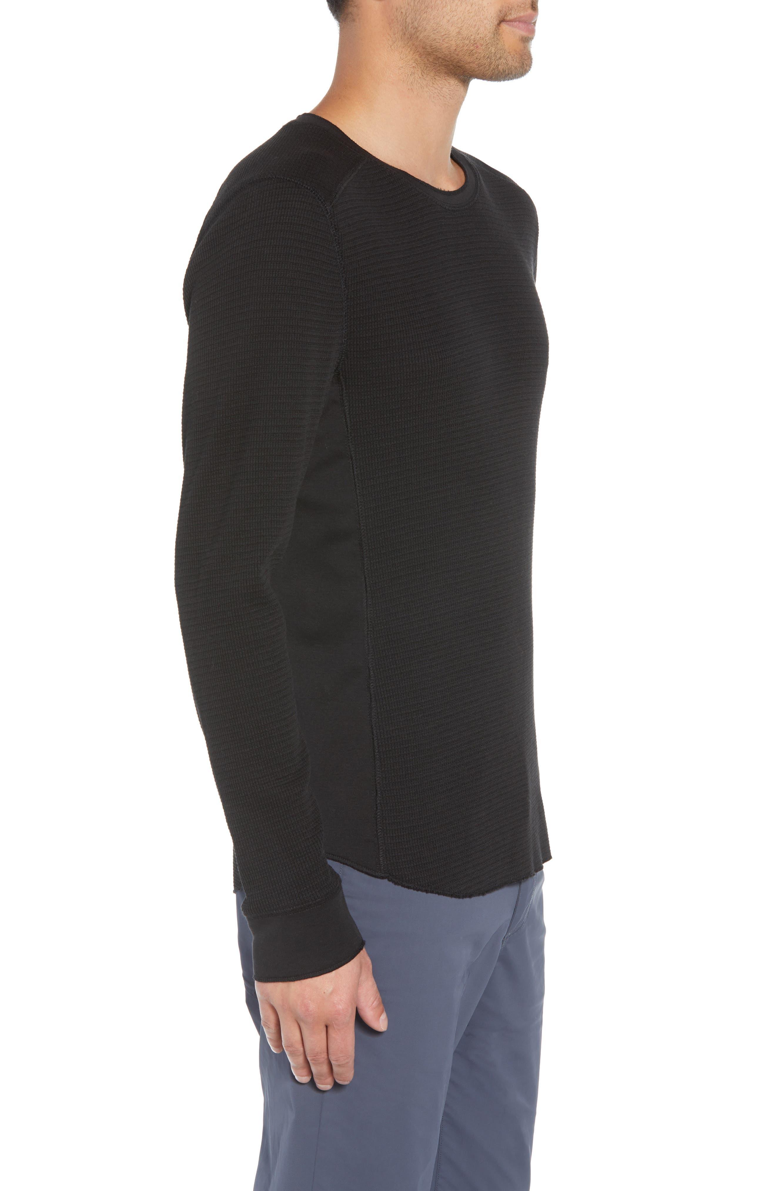 Regular Fit Waffle Knit T-Shirt,                             Alternate thumbnail 3, color,                             BLACK