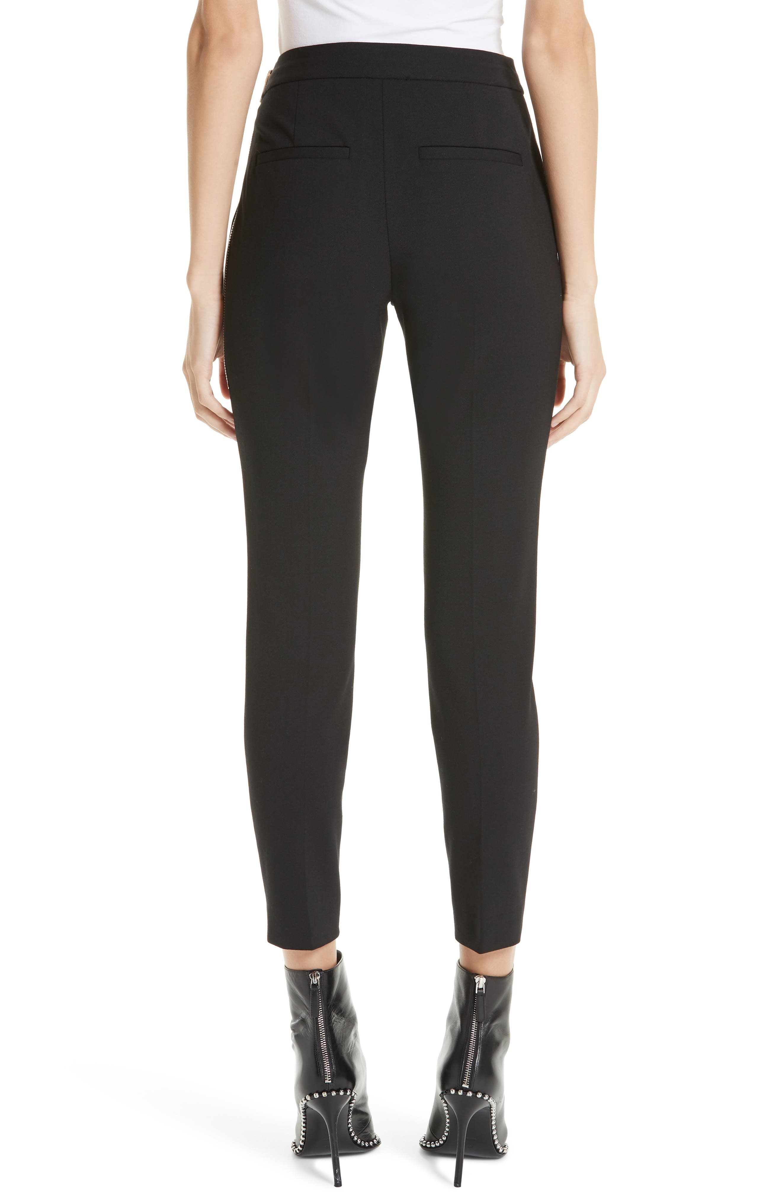Pintucked Stretch Wool Blend Slim Trousers,                             Alternate thumbnail 2, color,                             BLACK