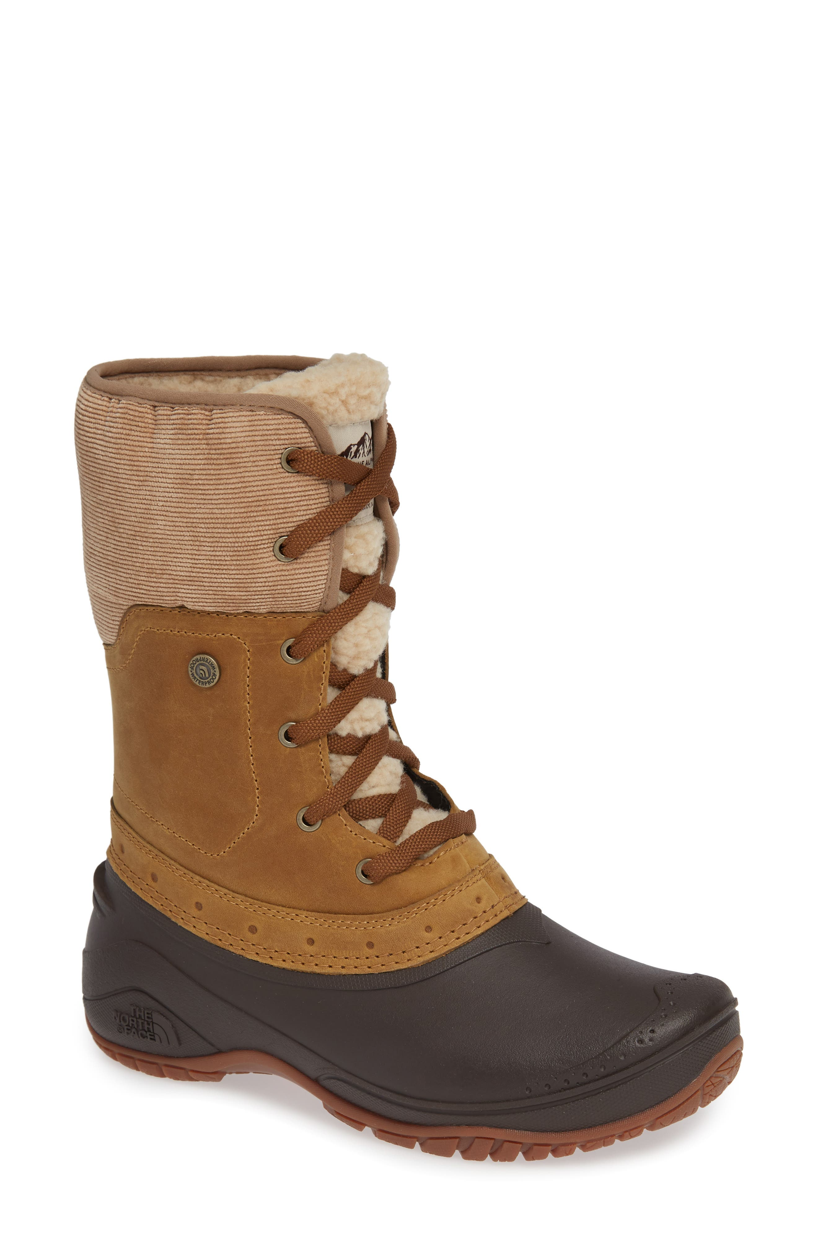 Shellista Roll Cuff Waterproof Insulated Winter Boot,                         Main,                         color, GOLDEN BROWN/ COFFEE BROWN