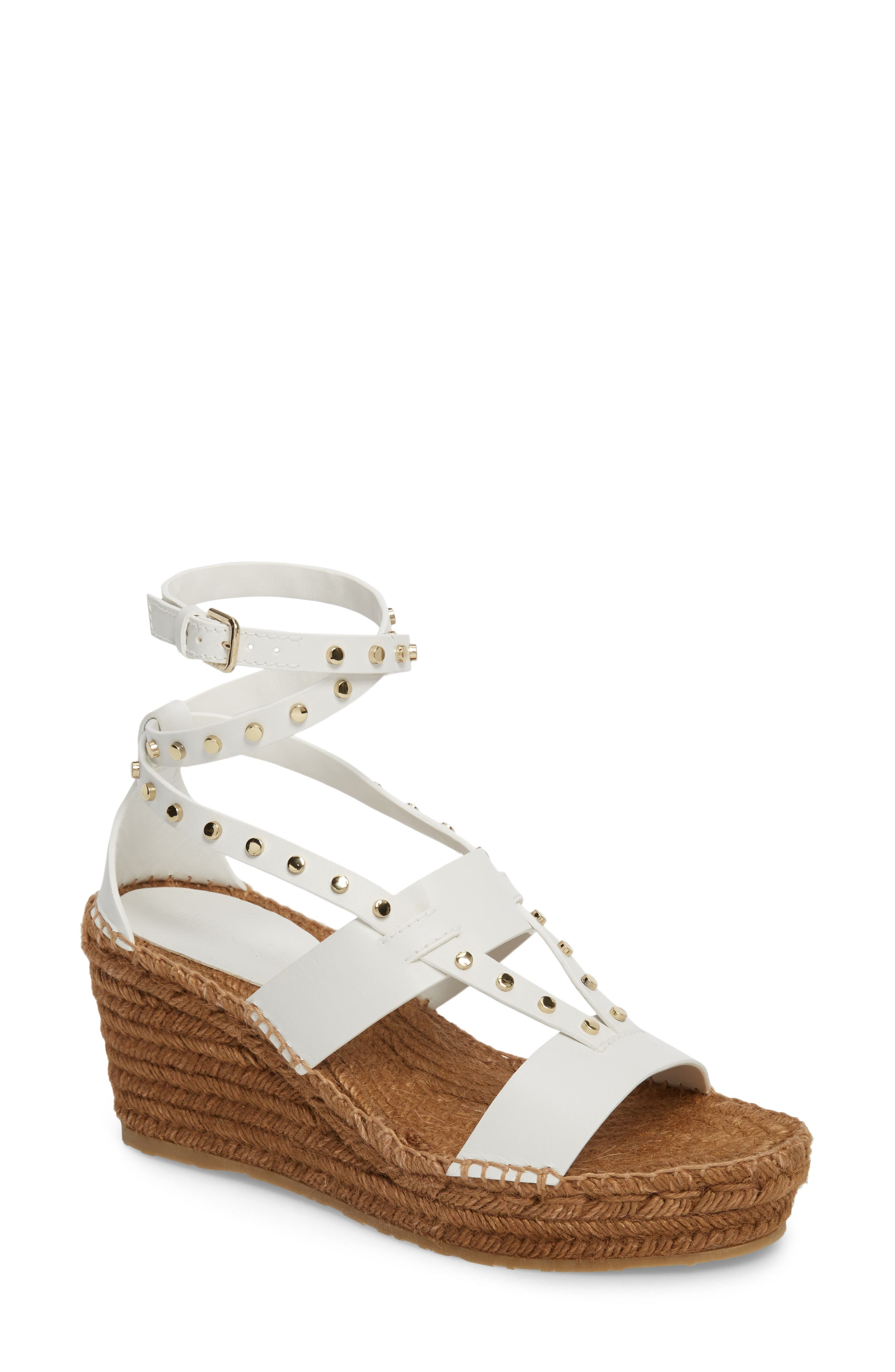 Danica Studded Wedge Espadrille,                             Main thumbnail 1, color,                             WHITE