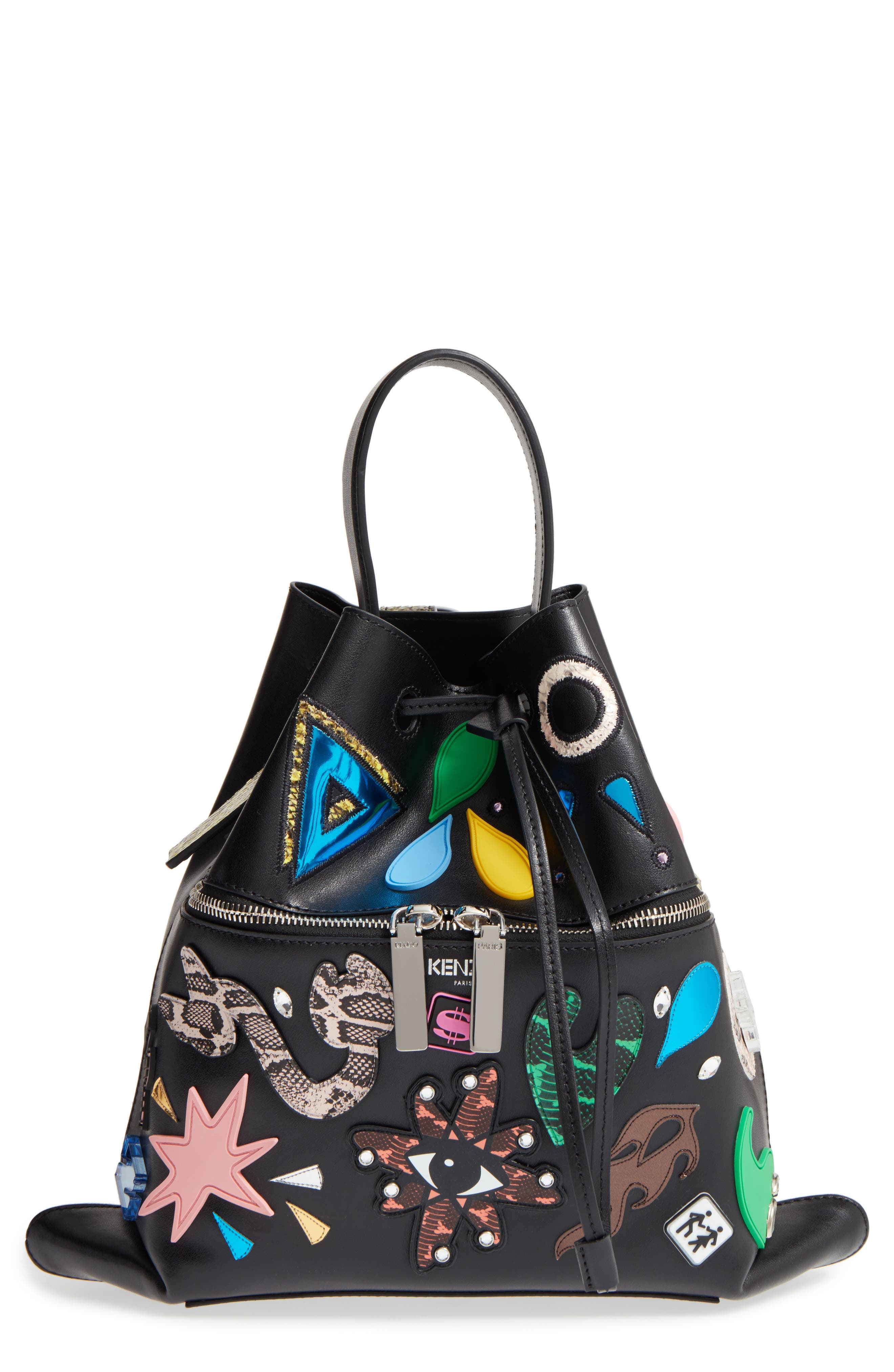 Rizo Badge Leather Backpack,                         Main,                         color, 001