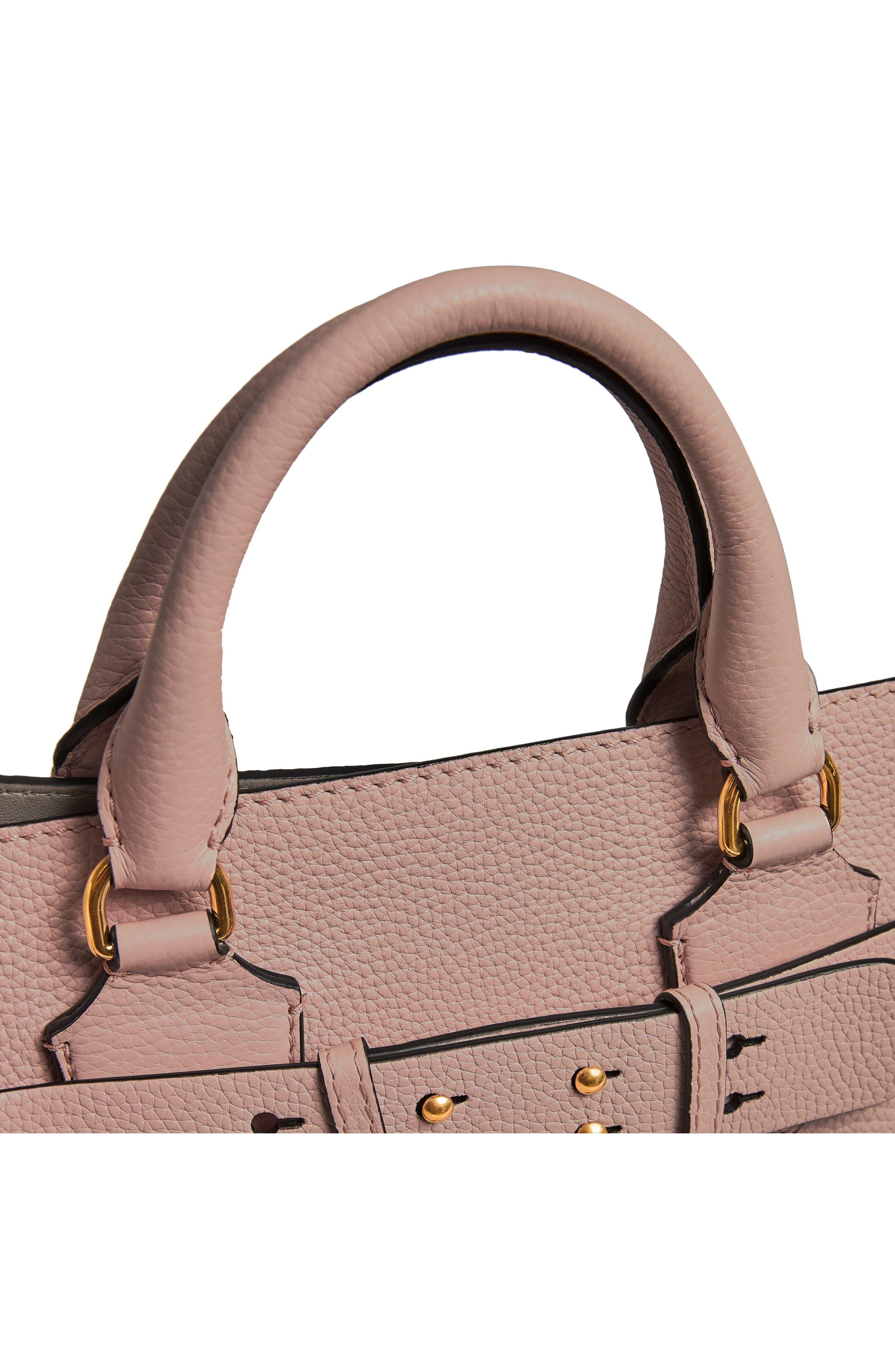 Medium Belt Bag Leather Tote,                             Alternate thumbnail 8, color,                             PALE ASH ROSE