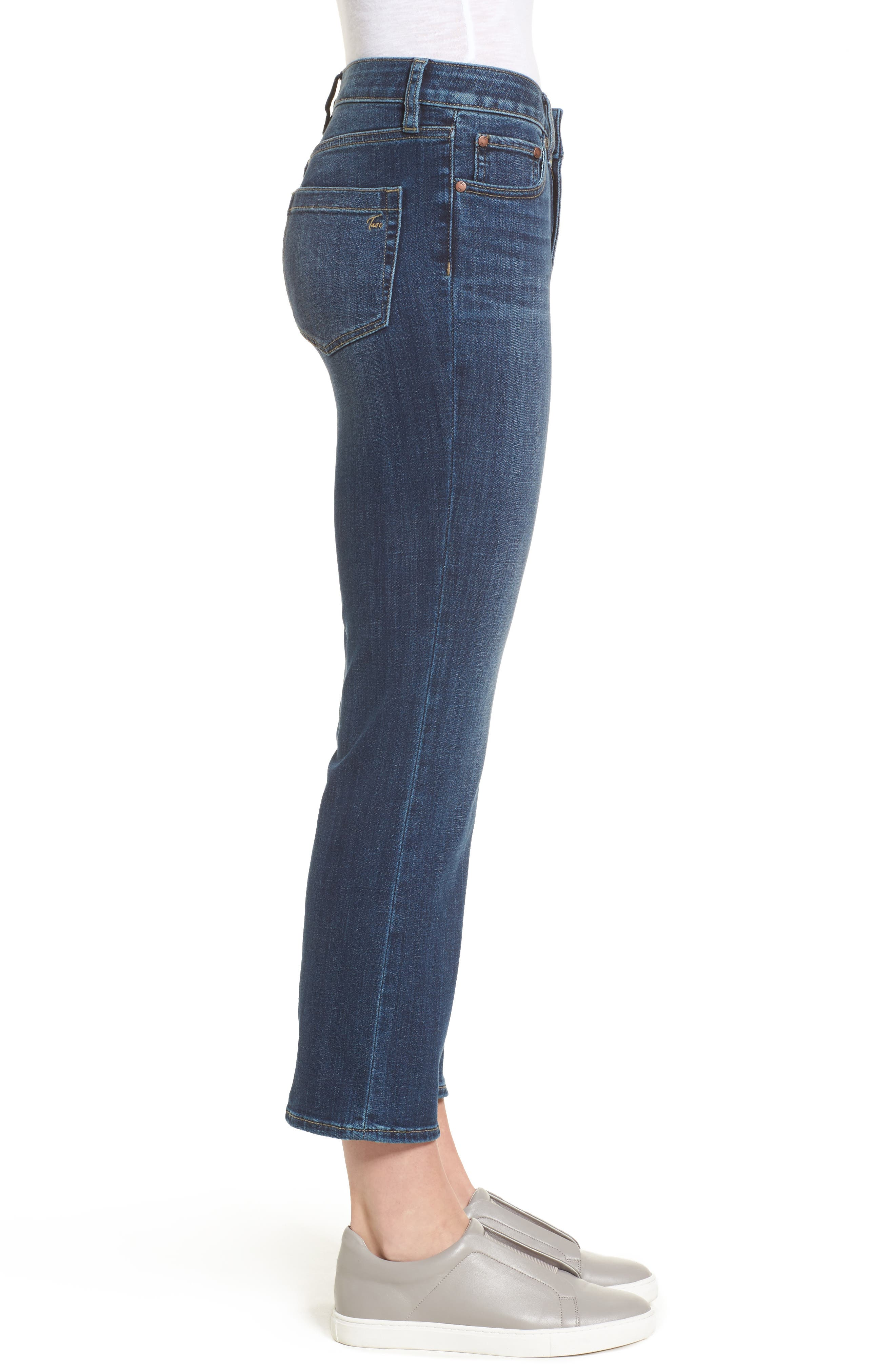 Two by Vince Camuto Cropped Flare Jeans,                             Alternate thumbnail 3, color,                             MID VINTAGE