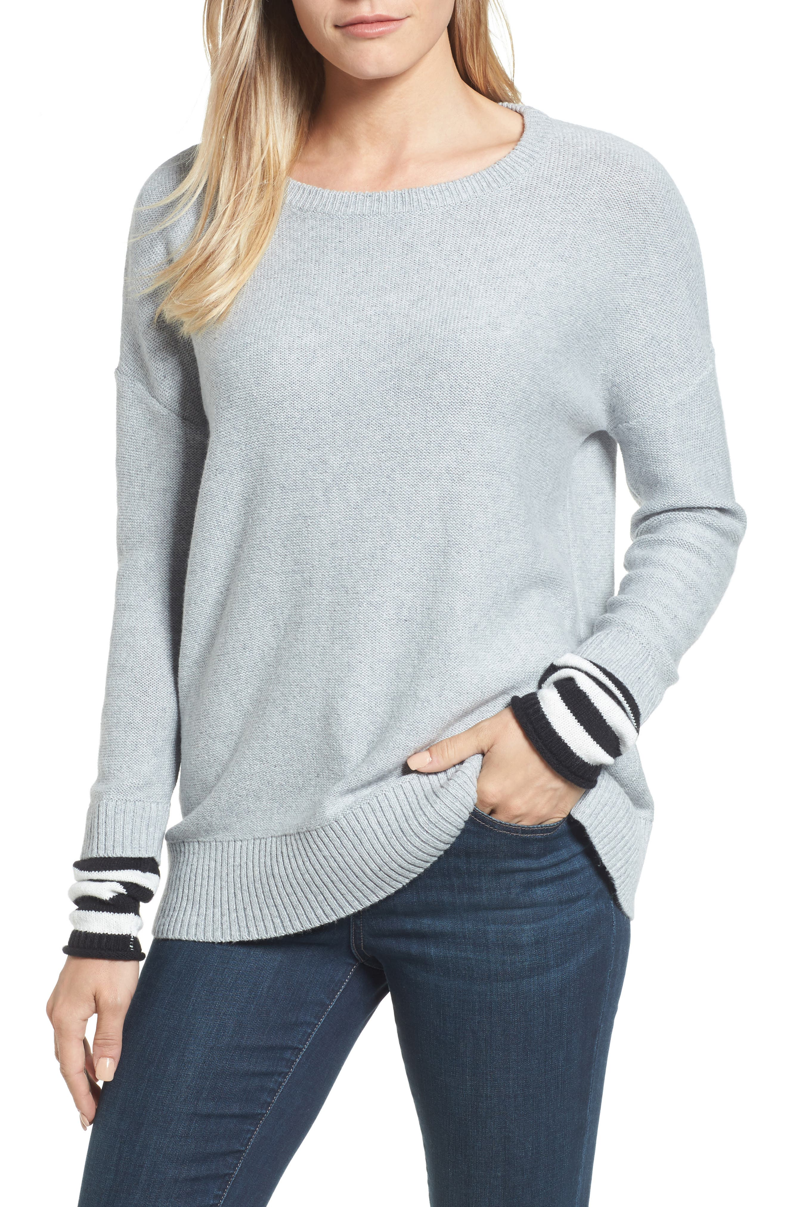 Contrast Cuff Crewneck Sweater,                             Main thumbnail 1, color,                             030