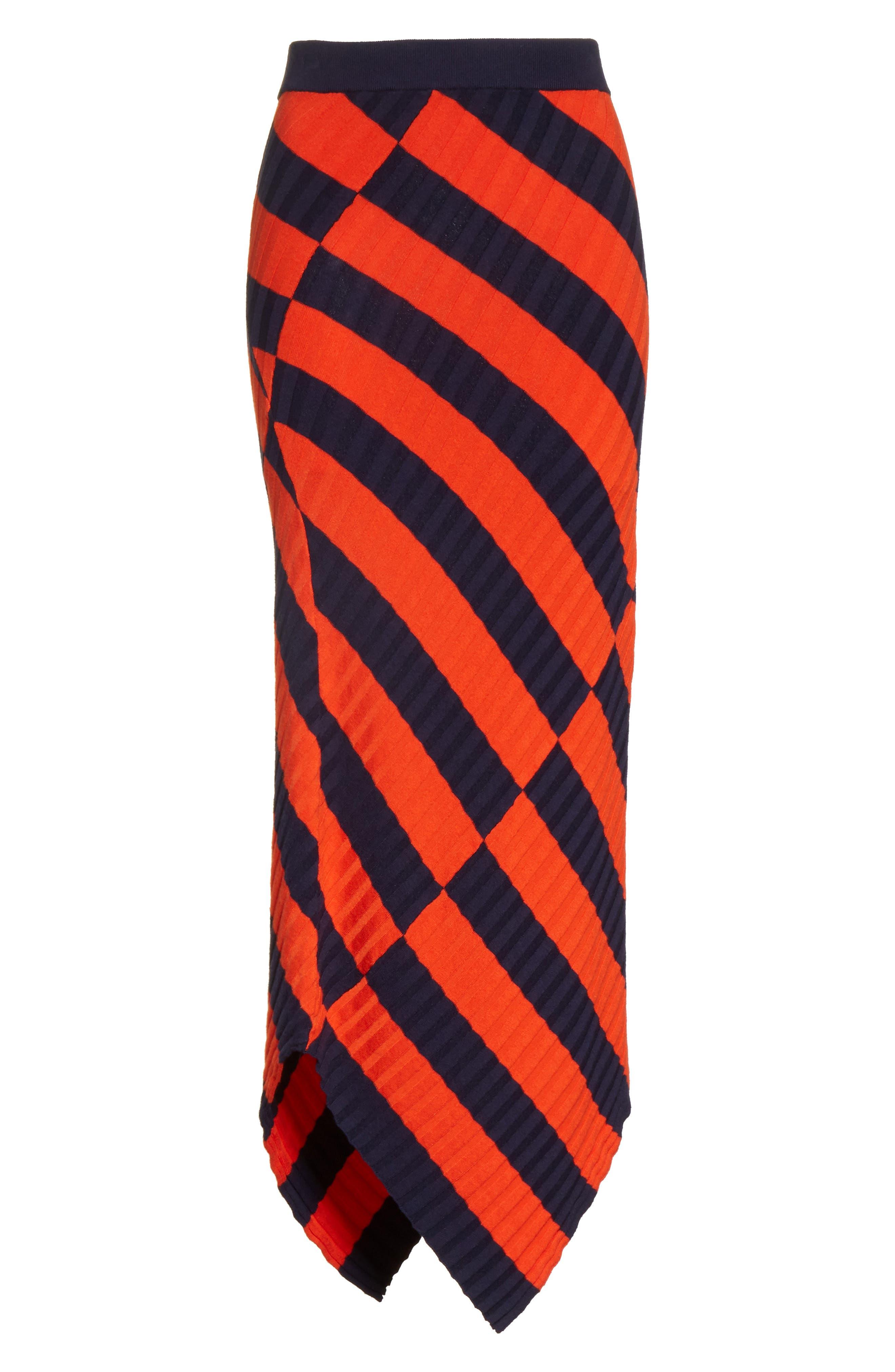 Asymmetrical Stripe Midi Skirt,                             Alternate thumbnail 6, color,                             830