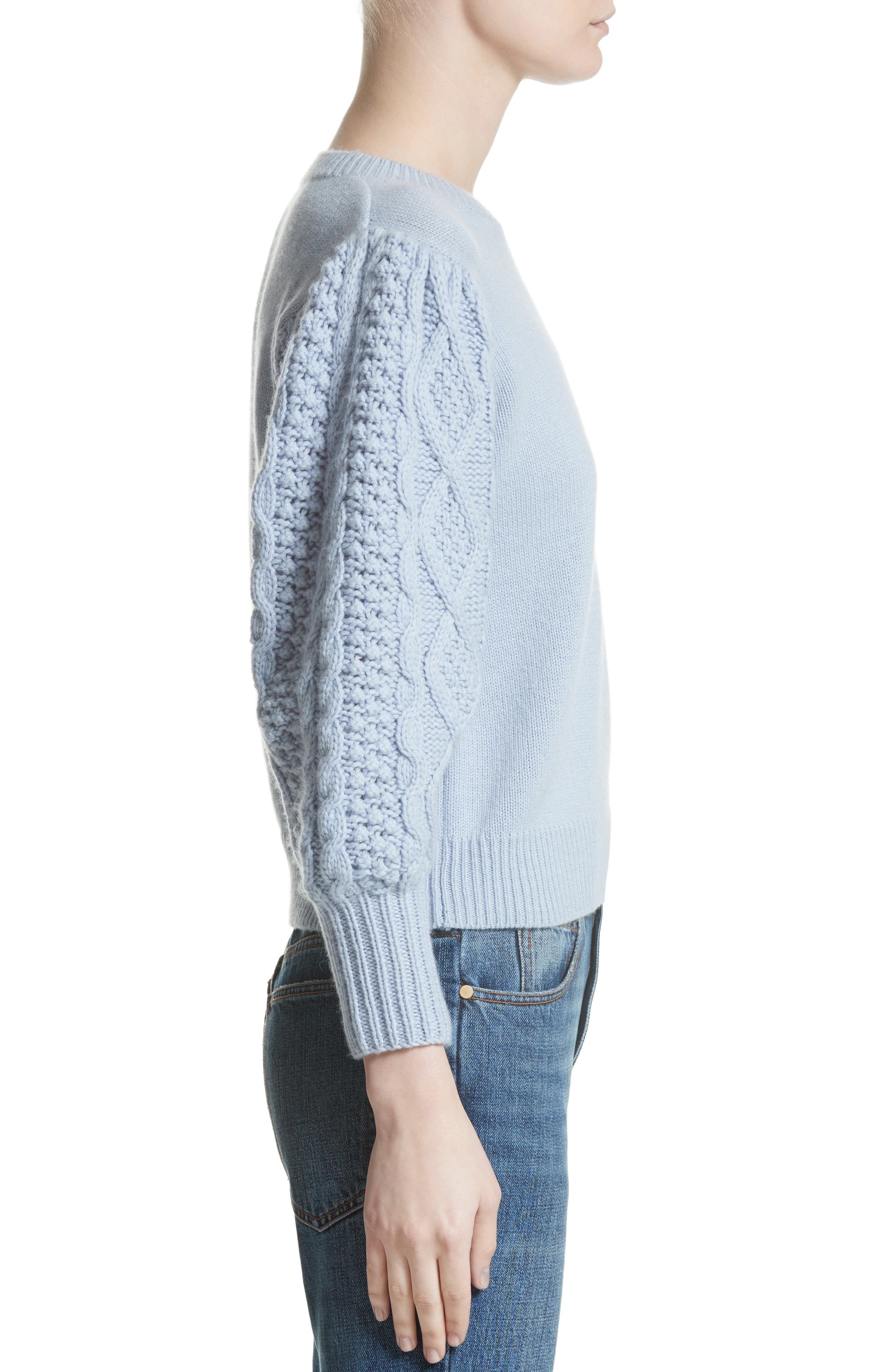 Puff Sleeve Wool & Cashmere Sweater,                             Alternate thumbnail 3, color,                             400