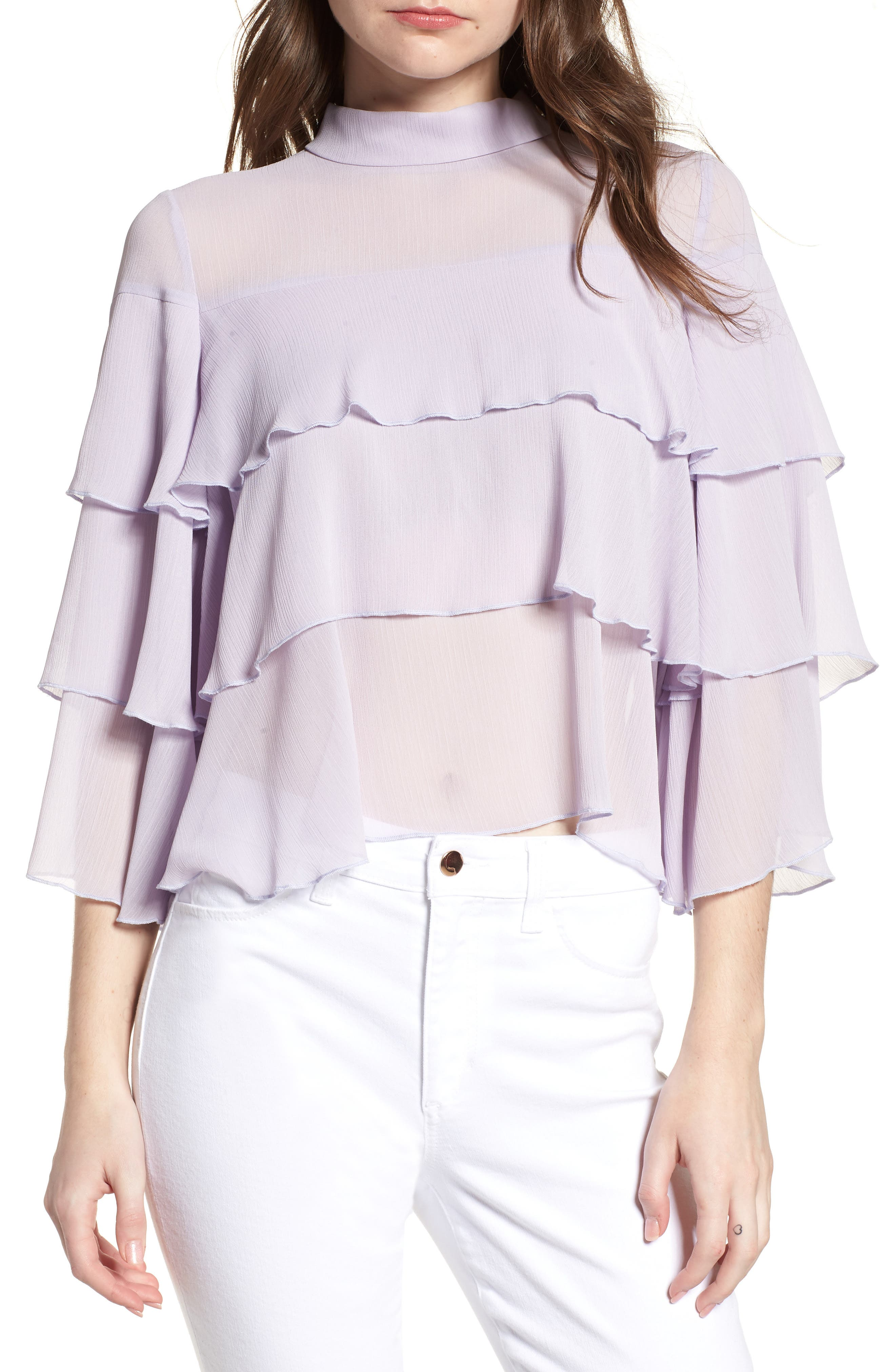 Bishop + Young Tiered Ruffle Blouse,                             Main thumbnail 1, color,                             LILAC