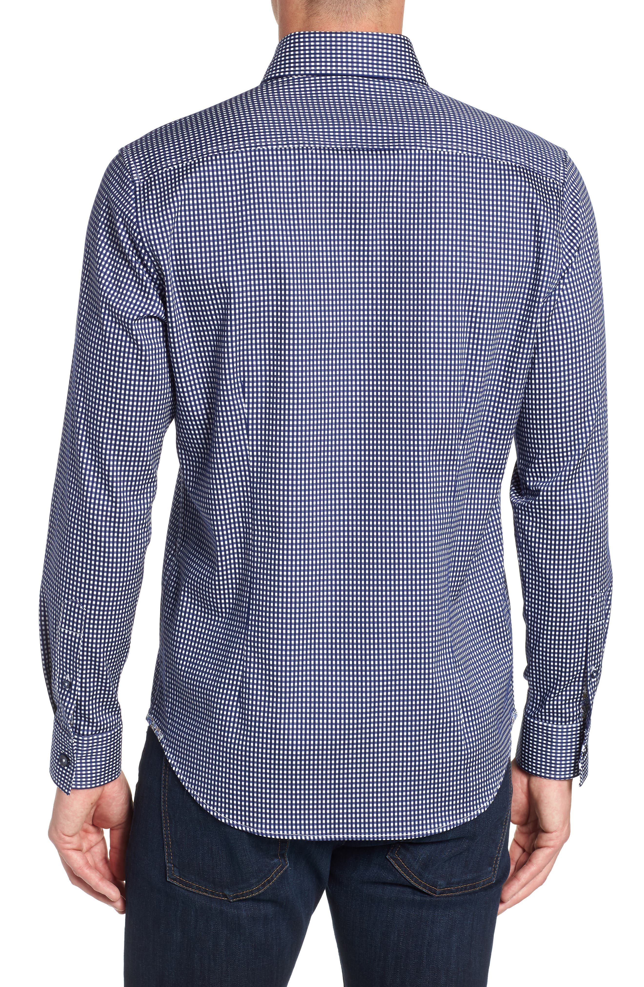 Charles Tailored Fit Sport Shirt,                             Alternate thumbnail 3, color,                             BLUE