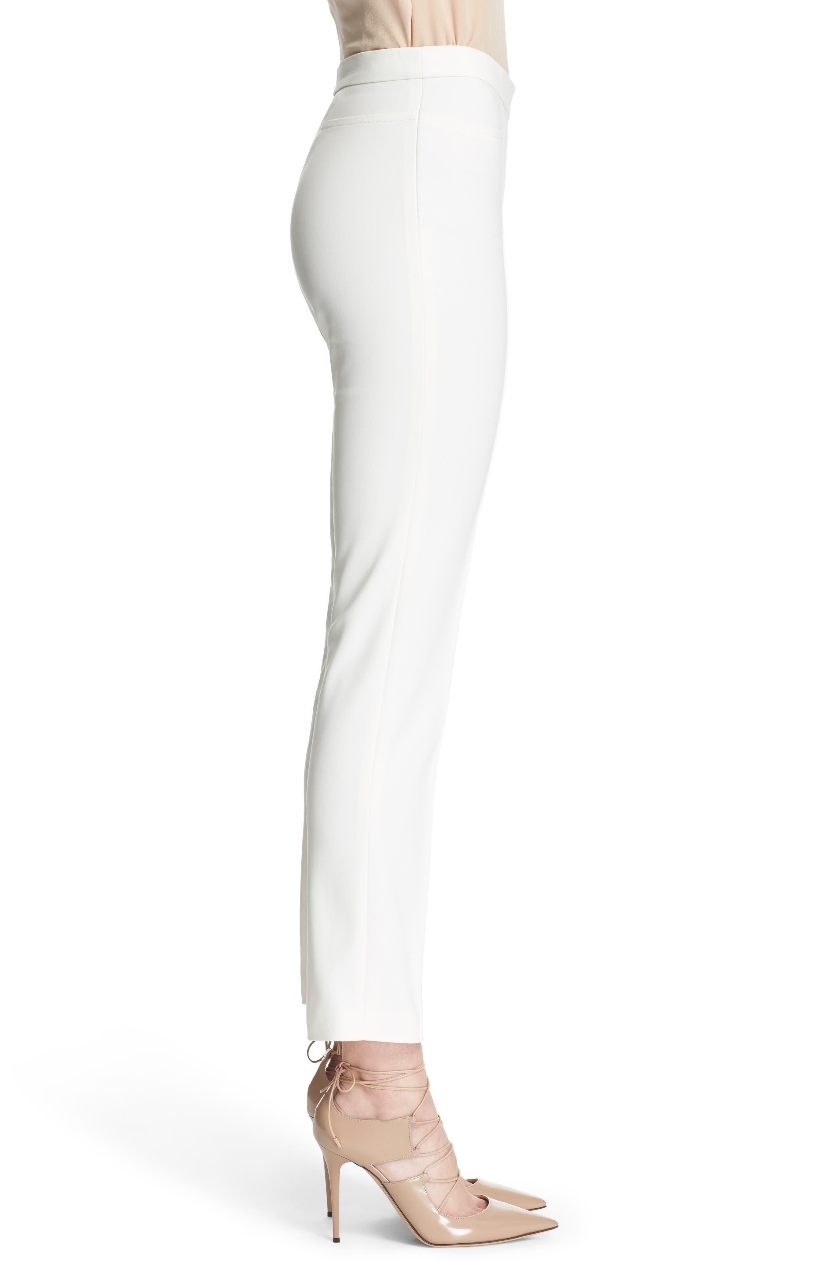 'Franca' Techno Cotton Blend Ankle Pants,                             Alternate thumbnail 3, color,                             ECRU